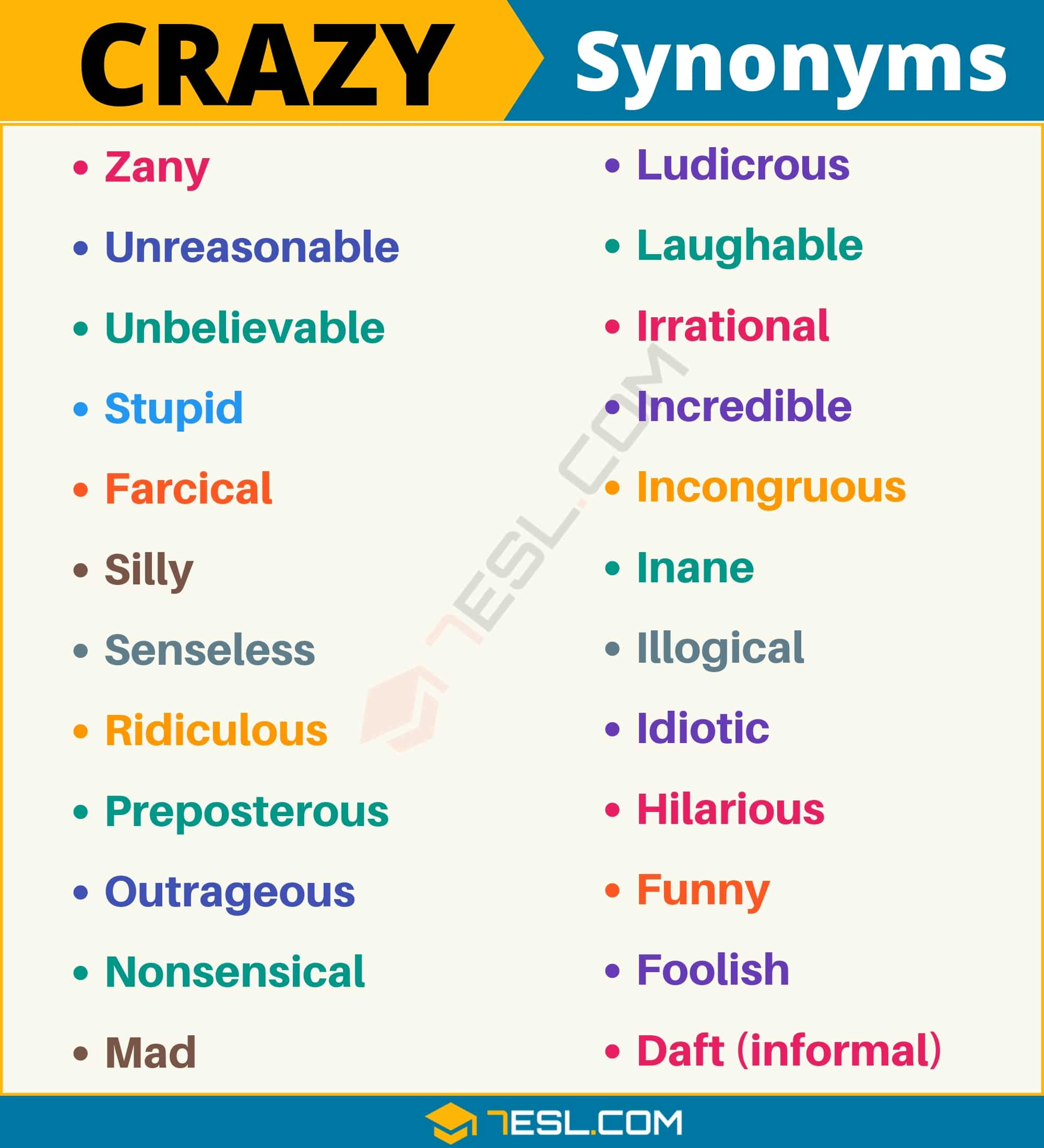 CRAZY Synonym: List of 24 Synonyms for Crazy with Examples