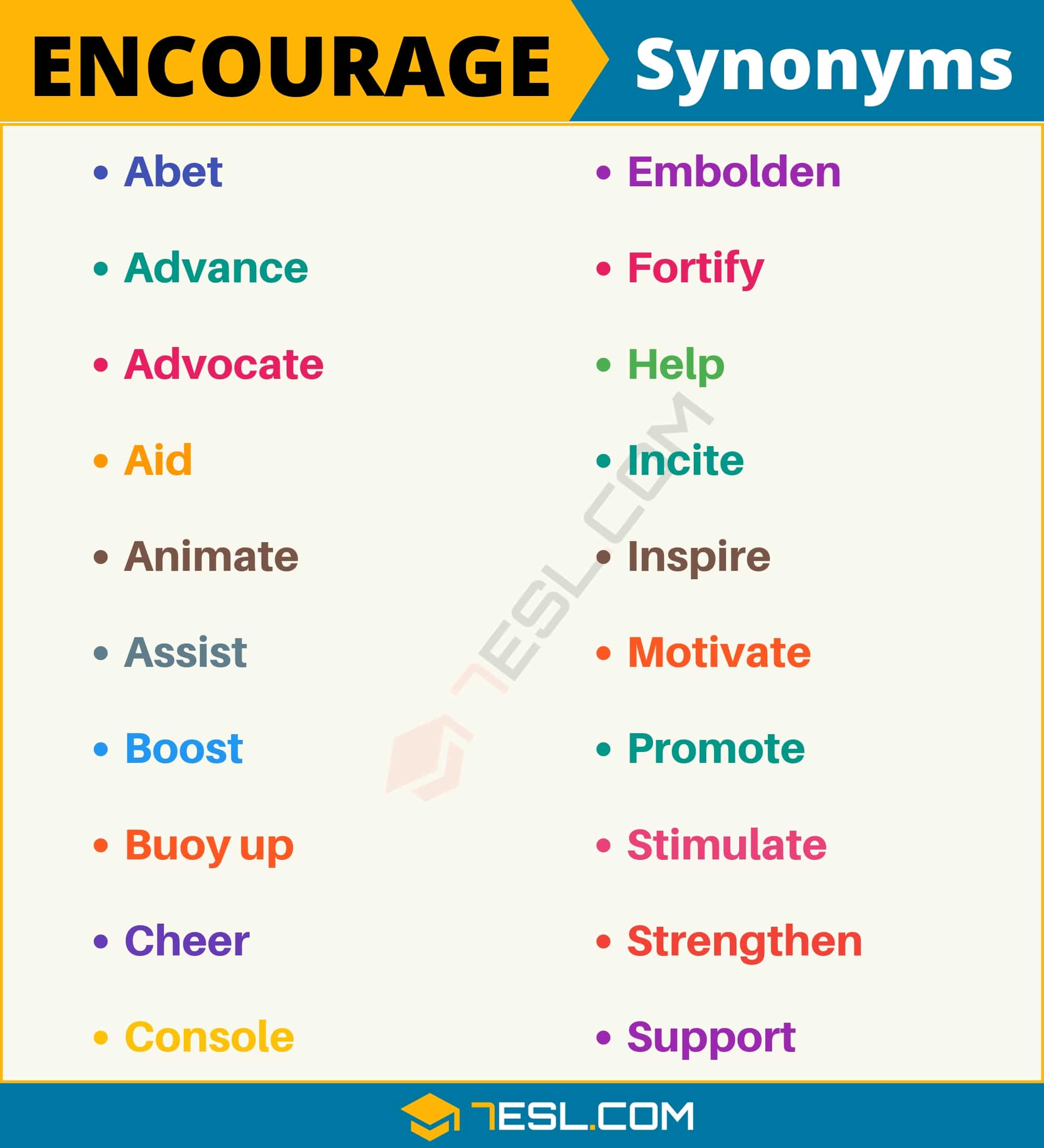 ENCOURAGE Synonym: List of 20 Synonyms for Encourage with Useful Examples