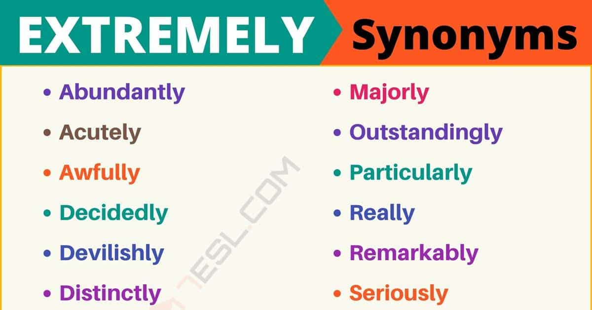 EXTREMELY Synonym: List of 110+ Synonyms for Extremely with Examples 1