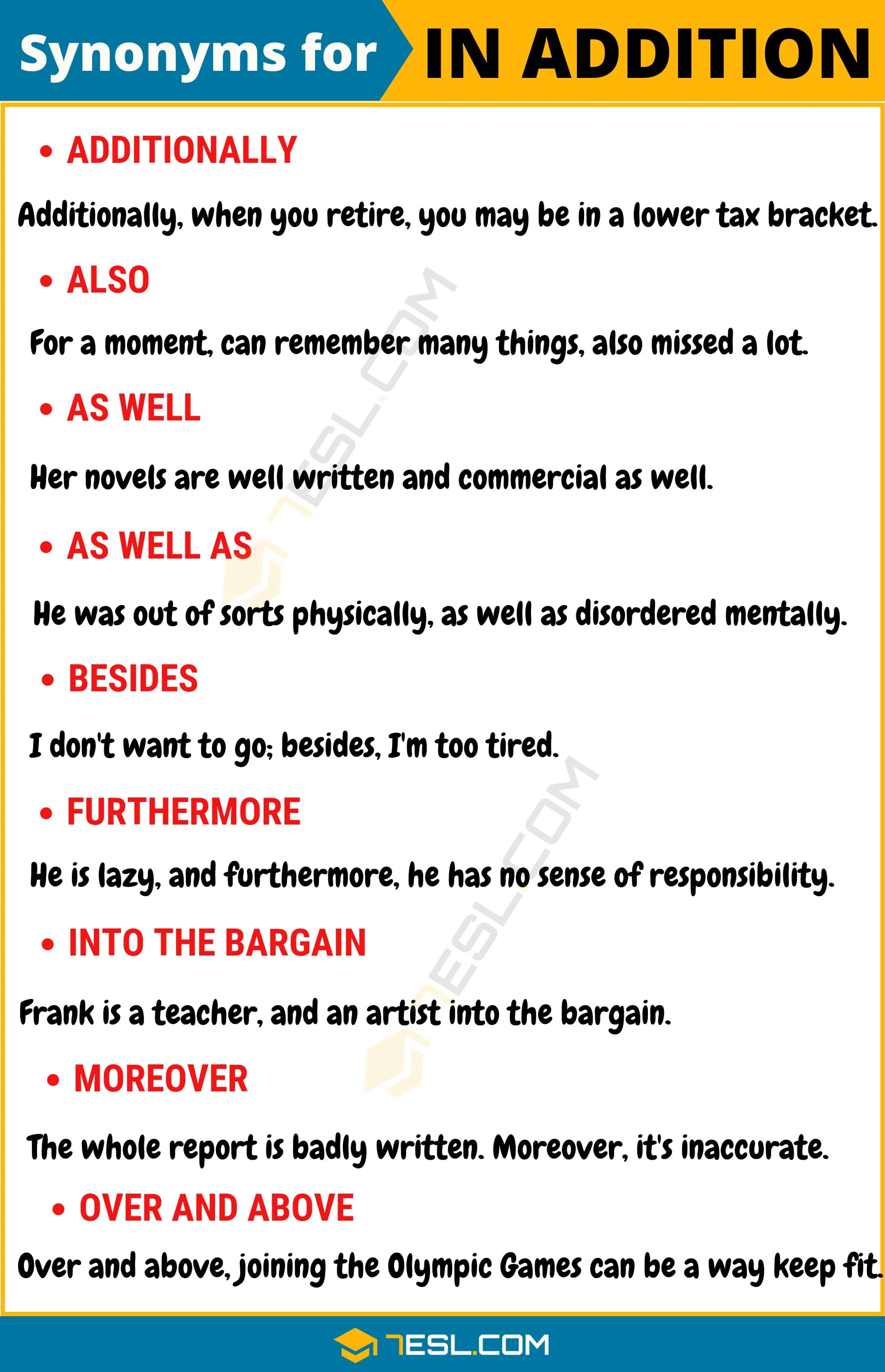 IN ADDITION Synonym: List of 80+ Synonyms for In addition with Useful Examples