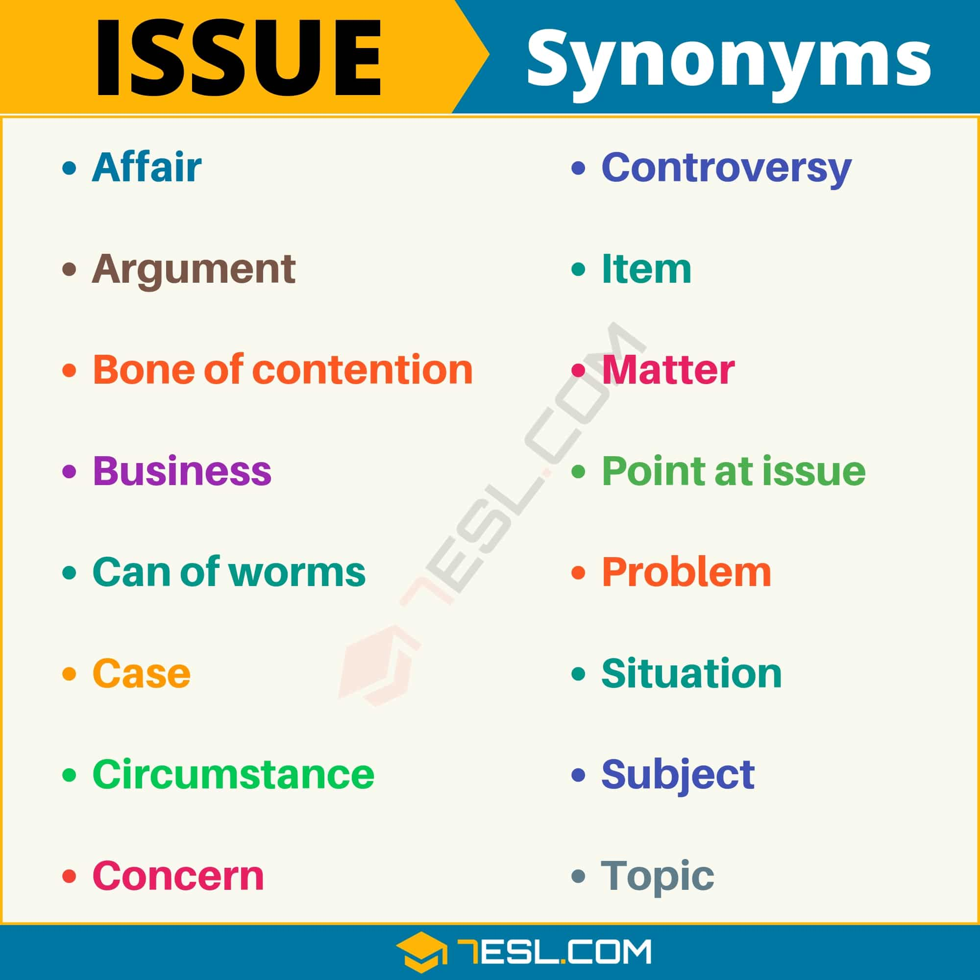 ISSUE Synonym: List of 16 Synonyms for Issue with Useful Examples