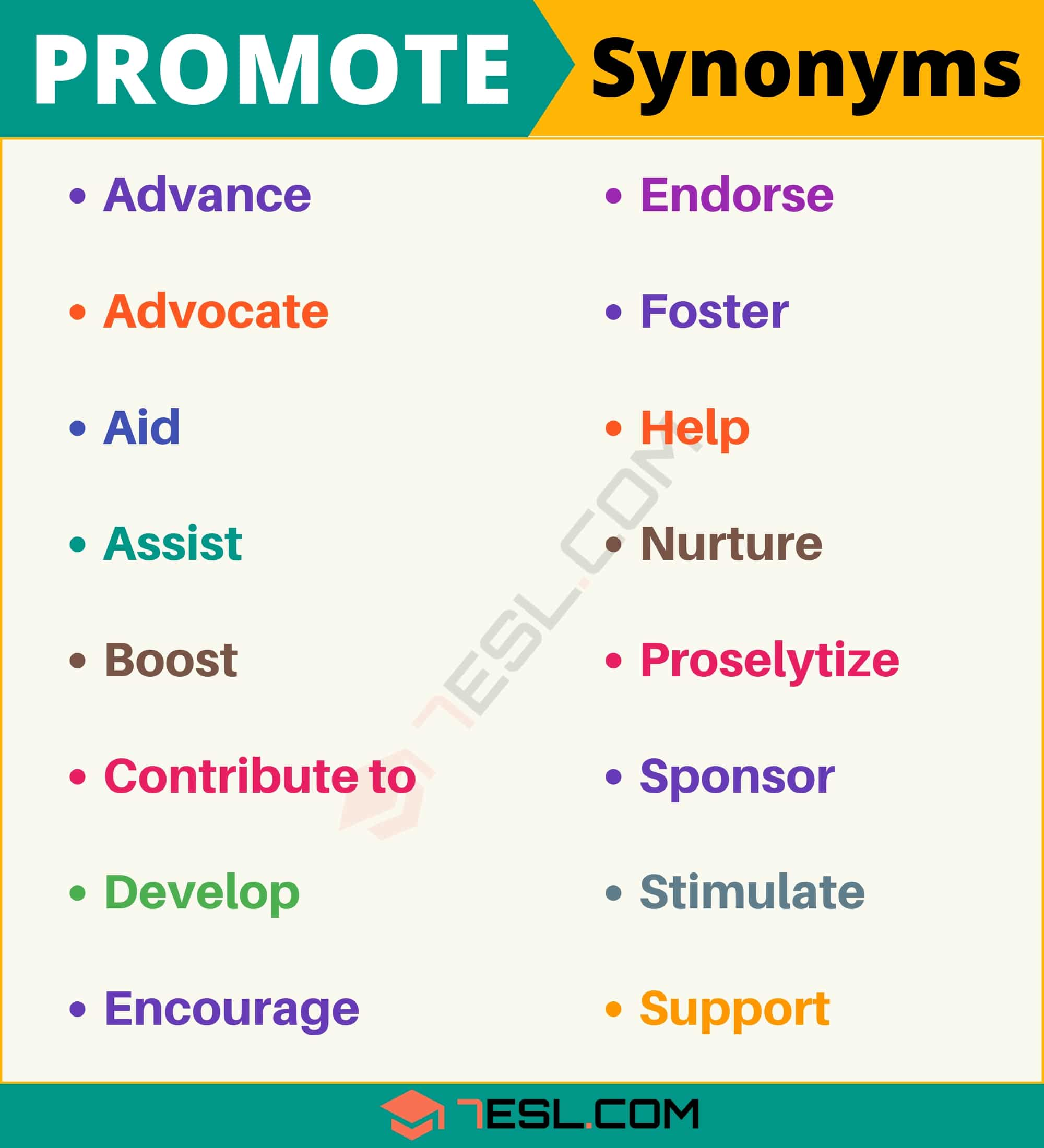 PROMOTE Synonym: List of 17 Synonyms for Promote with Useful Examples