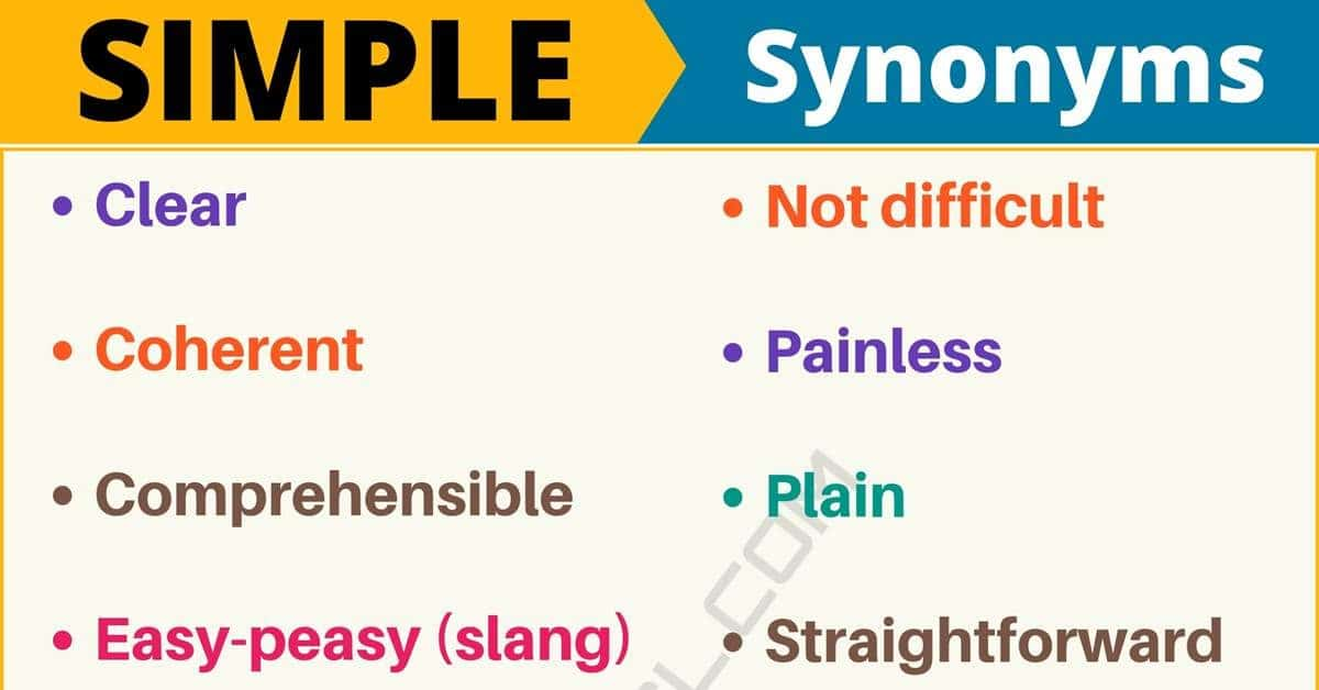 simplest form synonym  SIMPLE Synonym: List of 12+ Synonyms for Simple with Useful ...