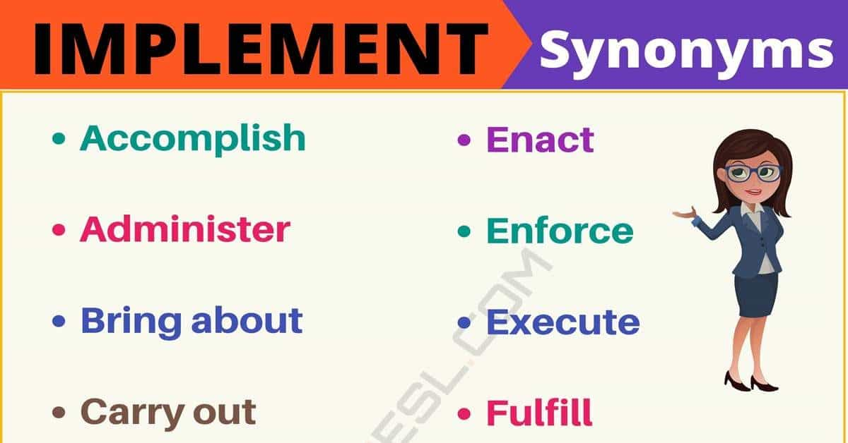 IMPLEMENT Synonym: List of 95+ Synonyms for Implement with Useful Examples 1