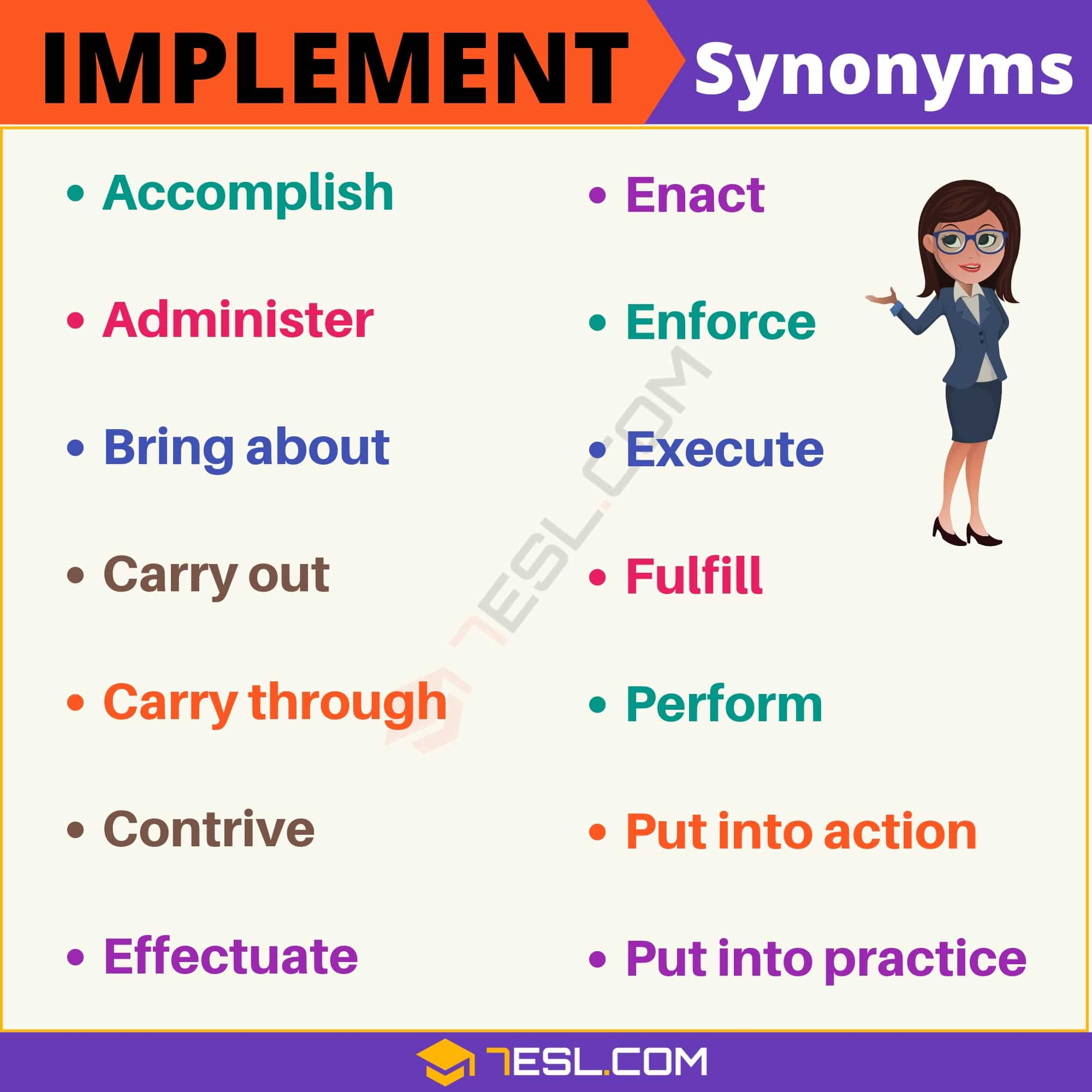 IMPLEMENT Synonym: List of 15 Synonyms for Implement with Useful Examples