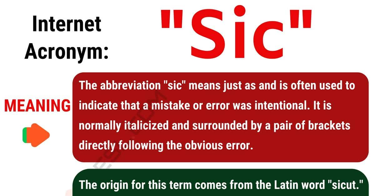 """""""Sic"""" Meaning 