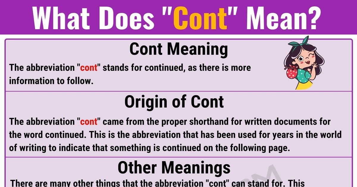 Cont Meaning | What Does Cont Mean? with Useful Examples 1