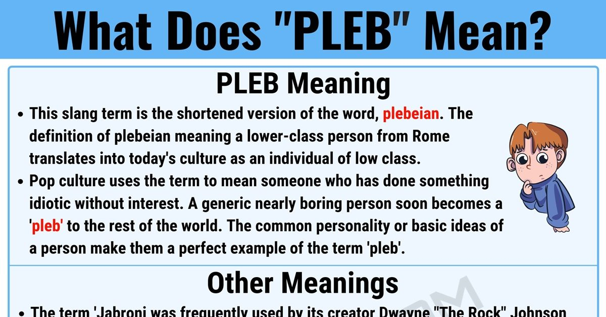 PLEB Meaning: What Does PLEB Mean? with Useful Examples 1