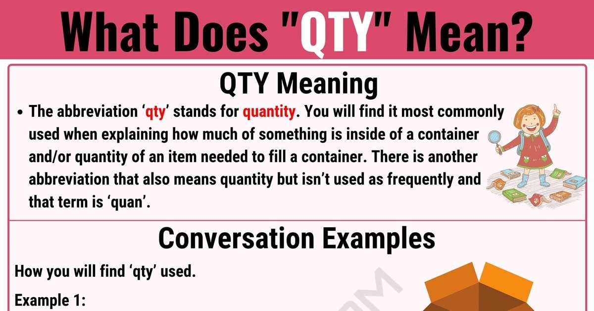 QTY Meaning: What Does QTY Mean and Stand for? 1