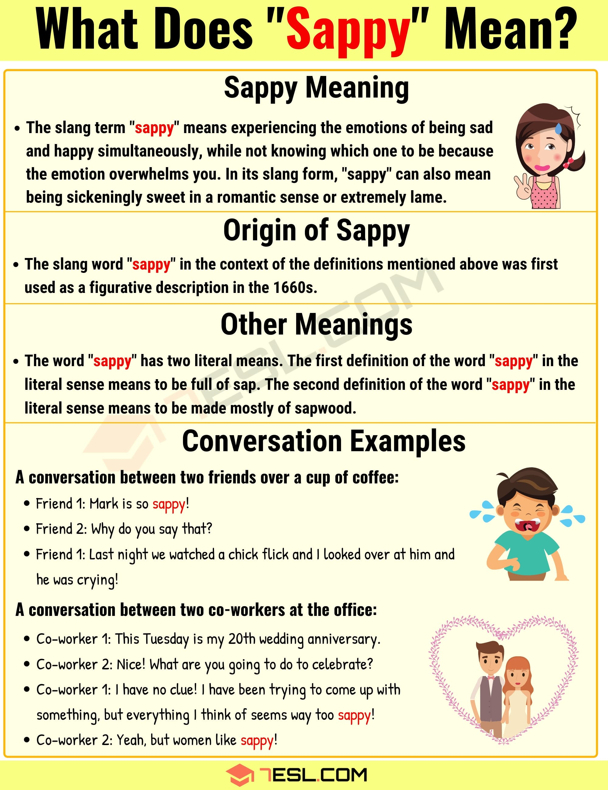 """Sappy Meaning: What Does The Interesting Slang Word """"Sappy"""" Mean? - 7 E S L"""