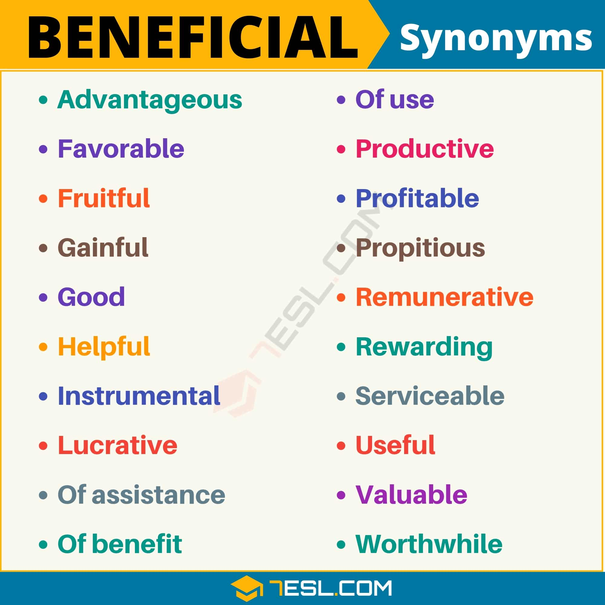 BENEFICIAL Synonym: List of 20 Synonyms for Beneficial with Examples