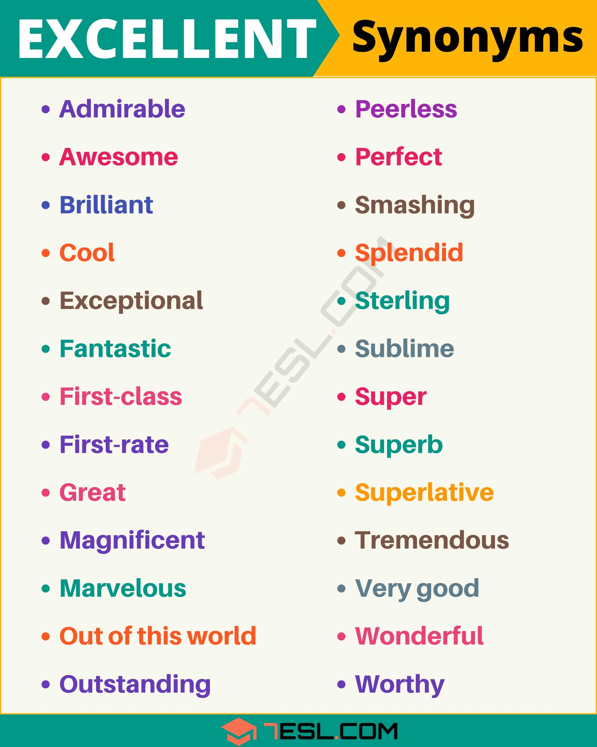 EXCELLENT Synonym: List of 27 Synonyms for Excellent in English