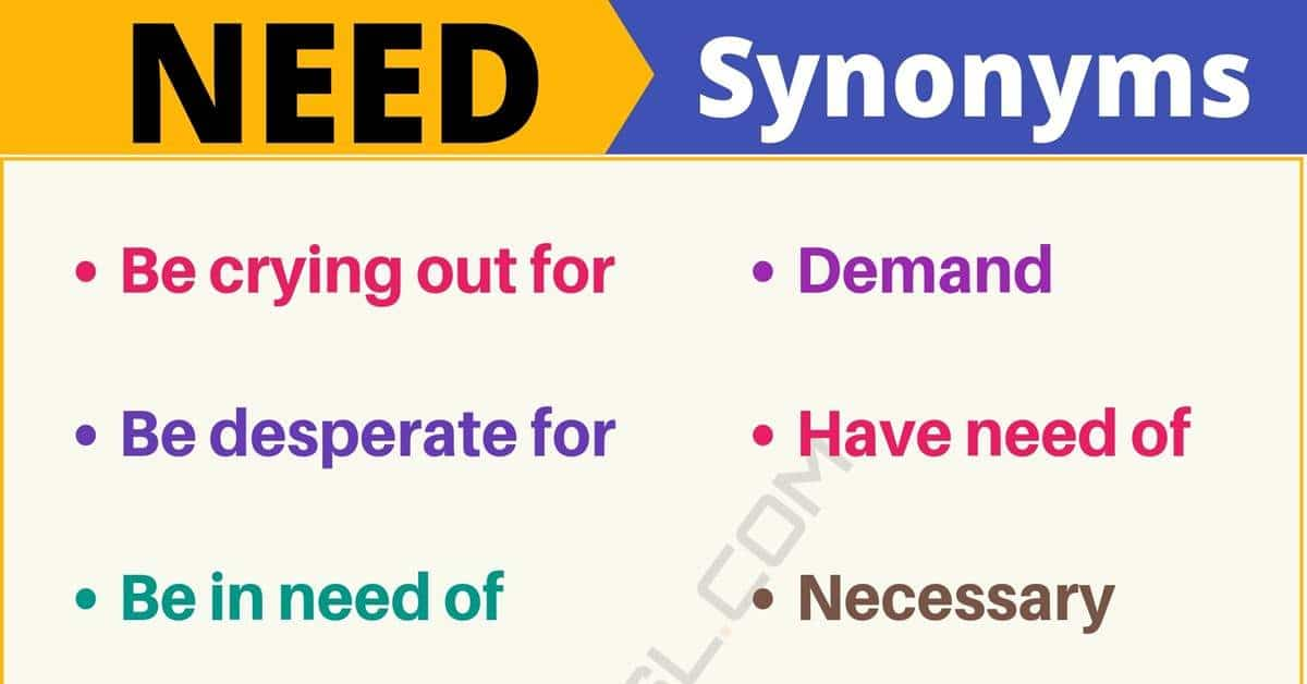 NEED Synonym: List of 105+ Synonyms for Need with Useful Examples 1