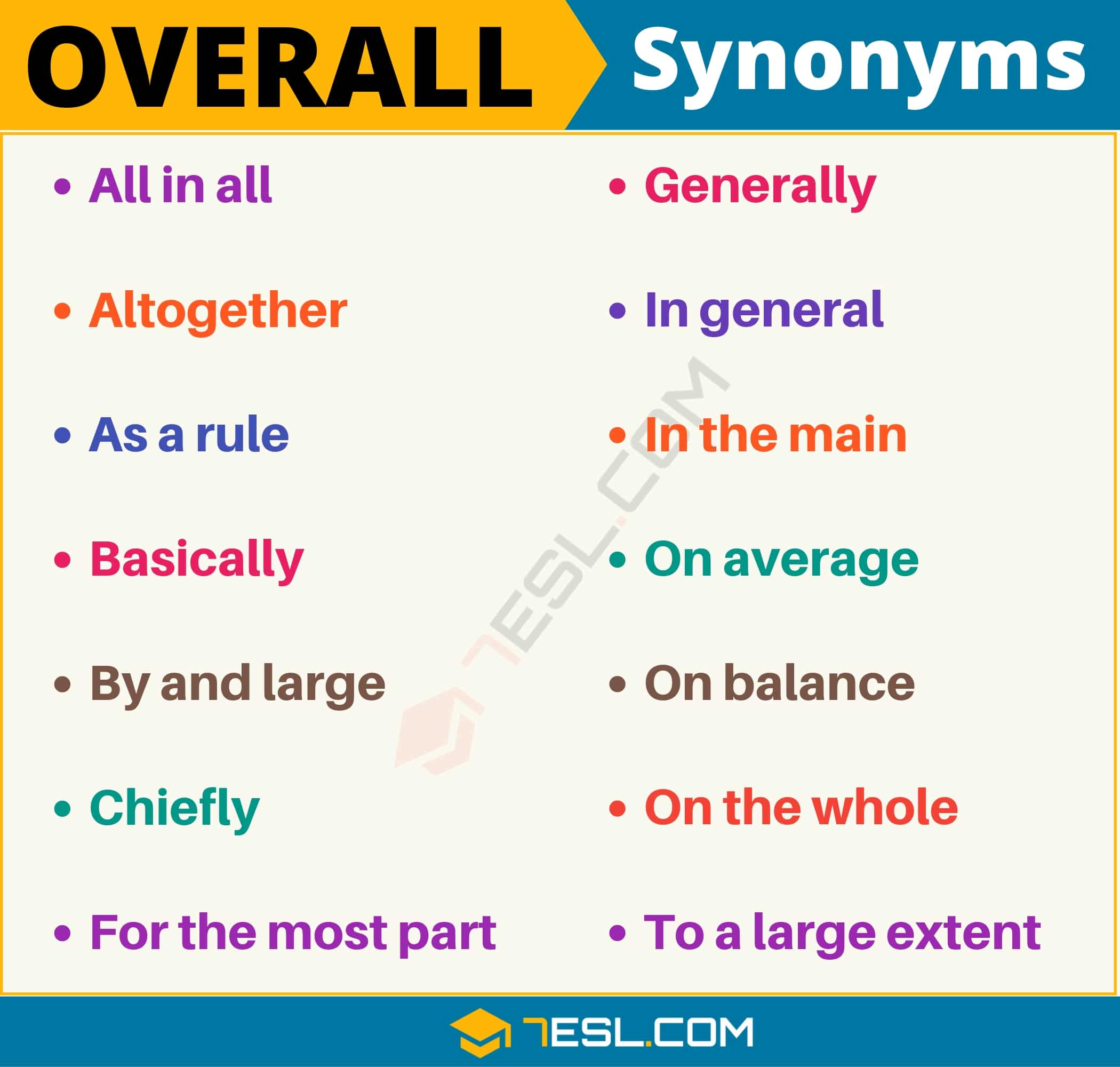 Overall Synonym List Of 85 Synonyms For Overall With Useful Examples 7esl Synonyms, antonyms & associated words(0.00 / 0 votes)rate these synonyms: overall synonym list of 85 synonyms