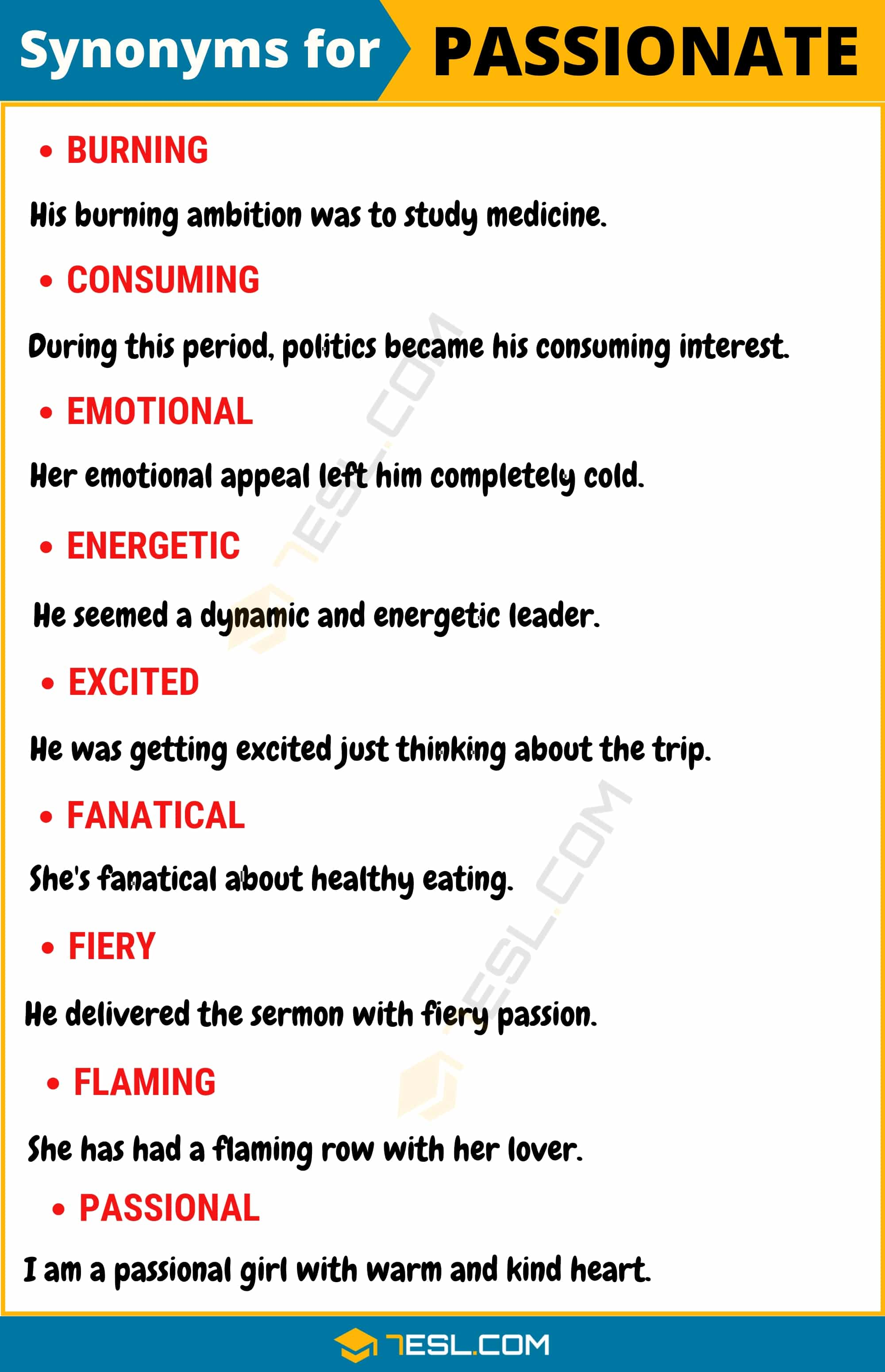 PASSIONATE Synonym: List of 15 Synonyms for Passionate with Examples