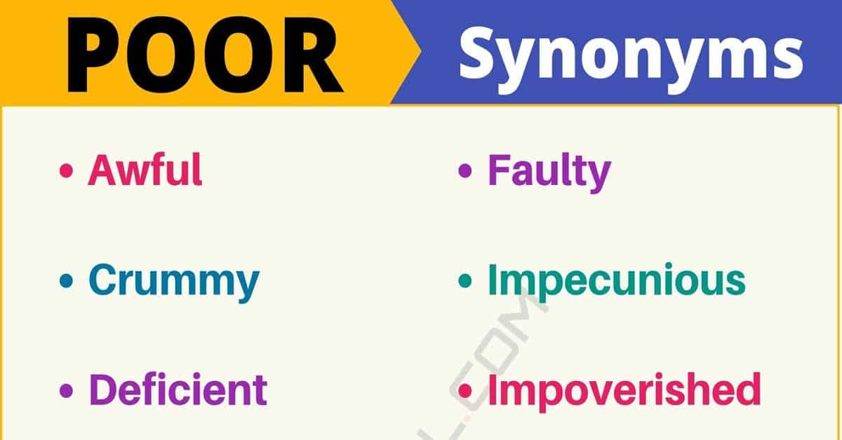 POOR Synonym: List of 14 Synonyms for Poor with Useful Examples 3