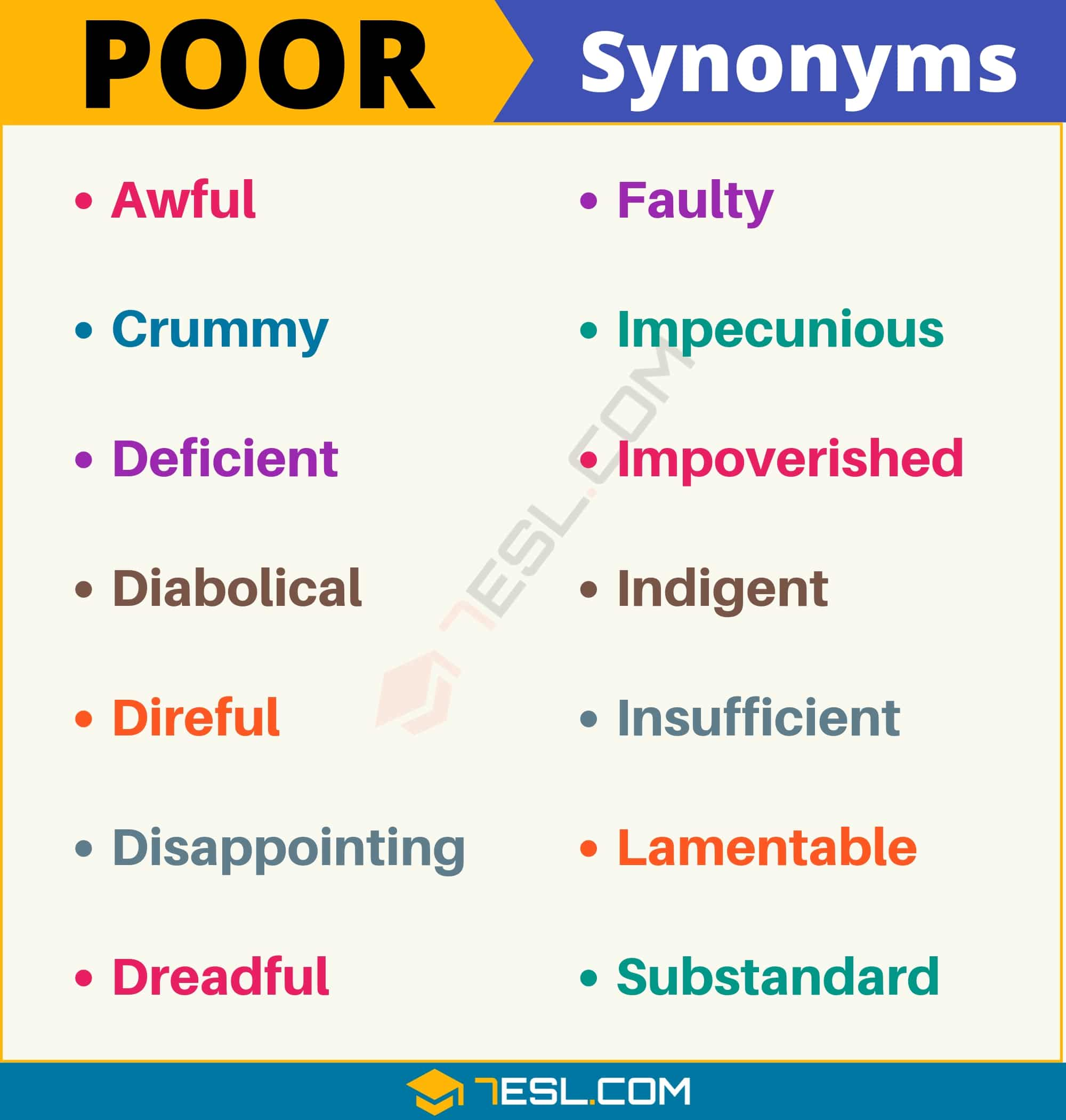 POOR Synonym: List of 14 Synonyms for Poor with Useful Examples