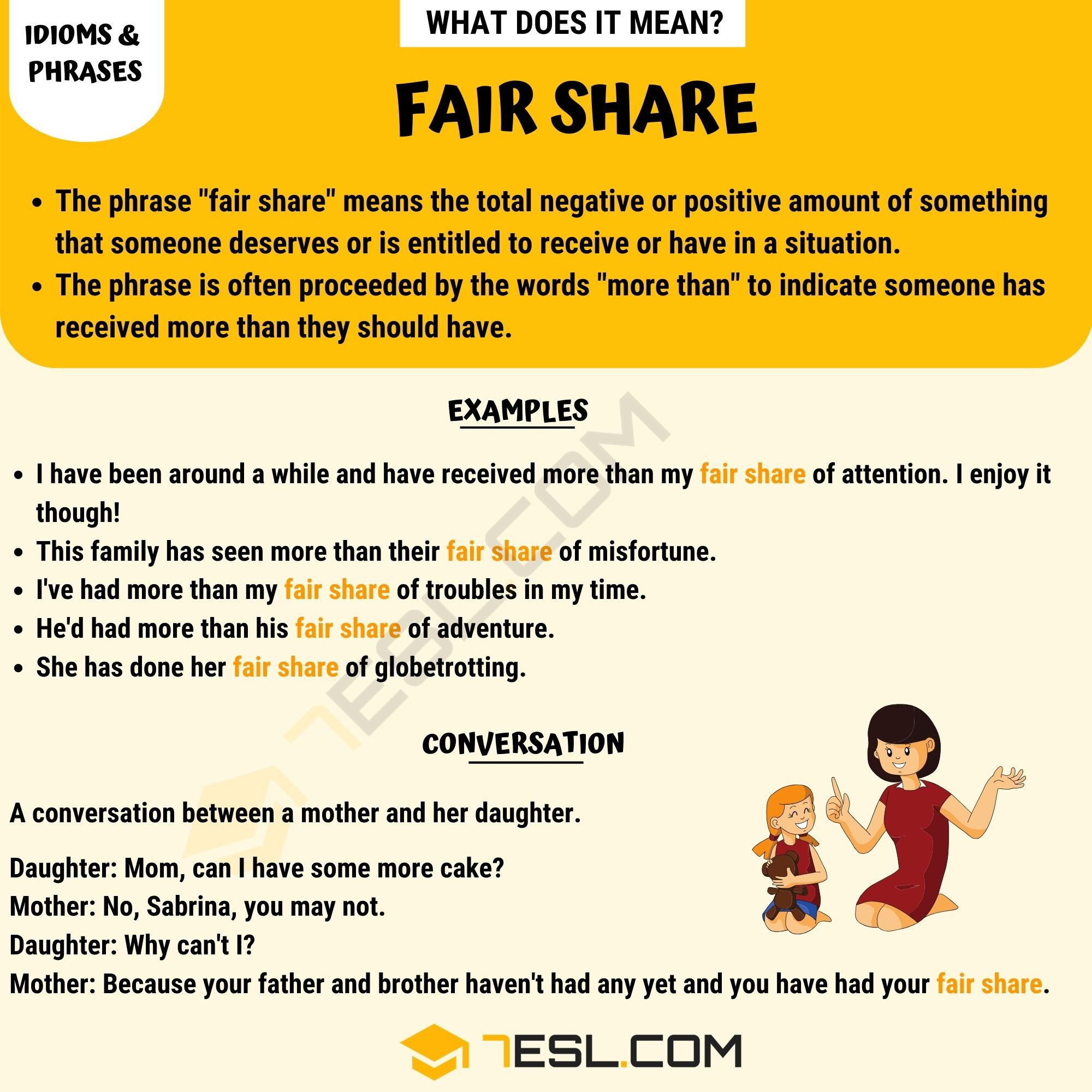 Fair Share Meaning What Does The Popular Idiom Fair Share Mean 7 E S L