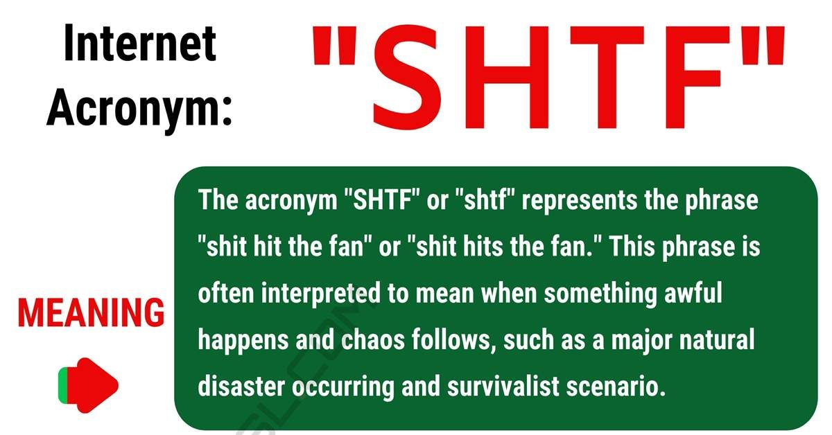 "SHTF Meaning: What Does this Popular Acronym ""SHTF"" Mean? 1"