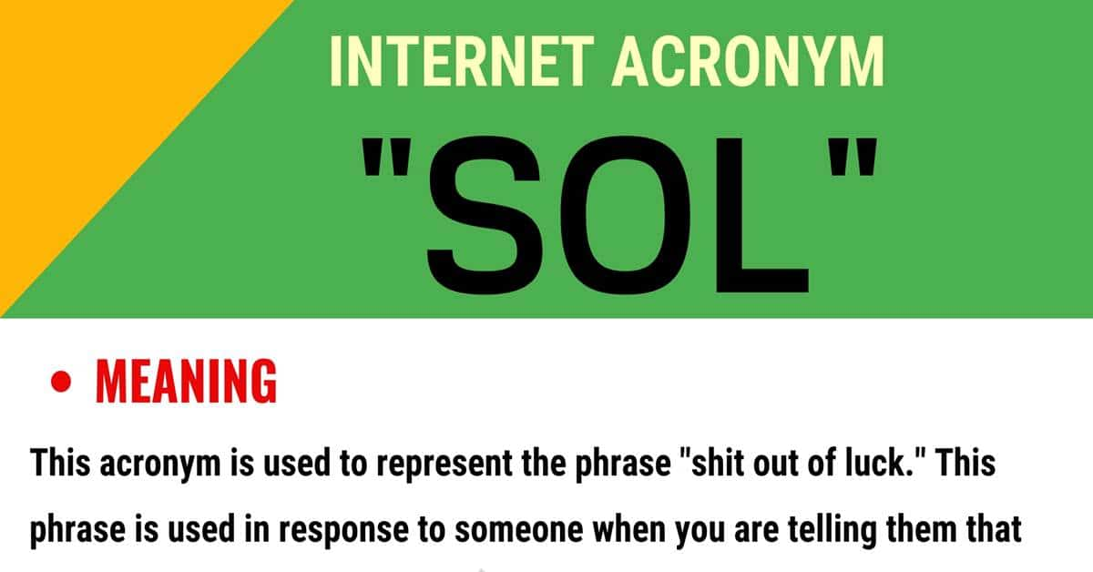 """""""SOL"""" Meaning 