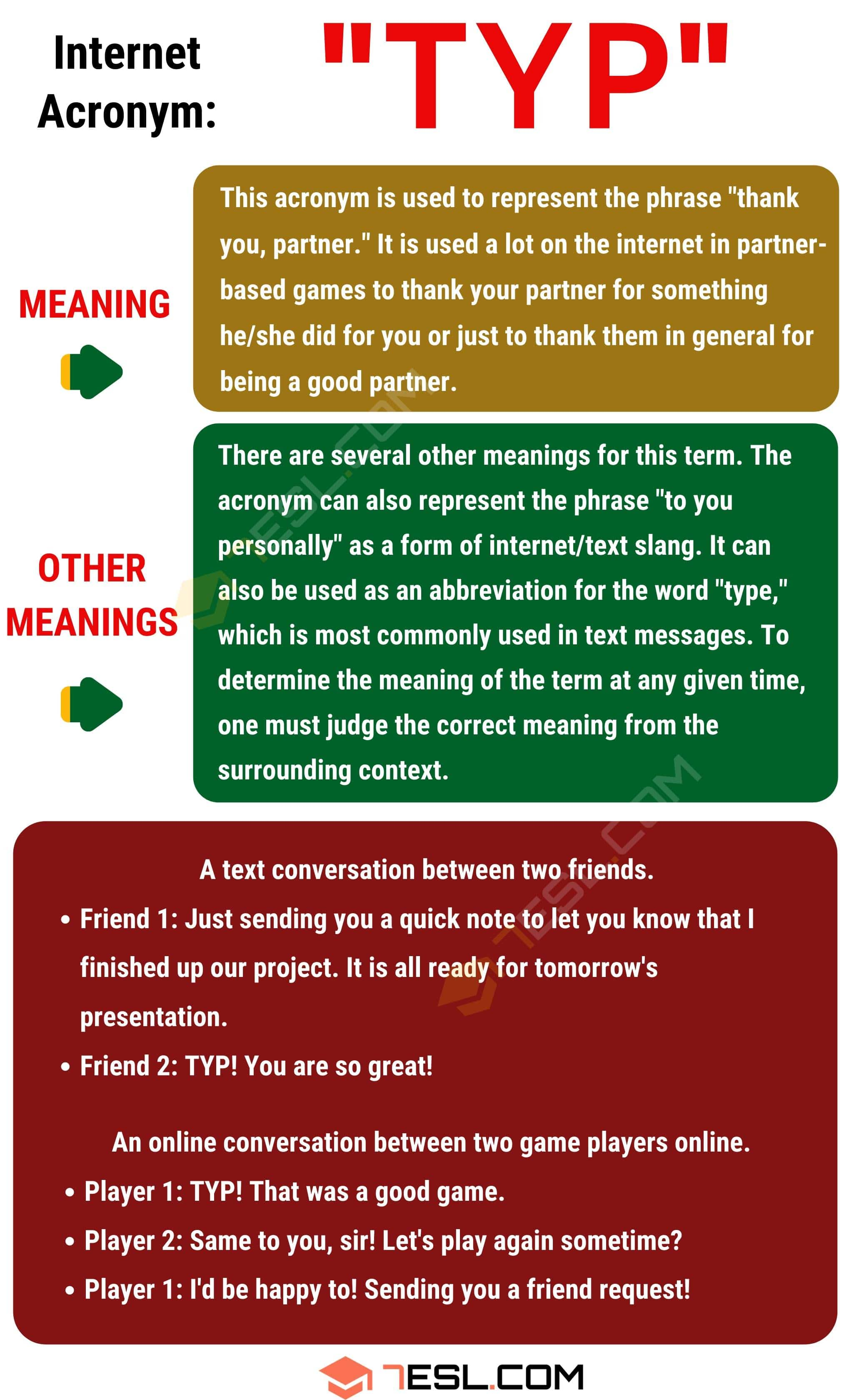 TYP Meaning: What Does TYP Mean and Stand For in Texting?
