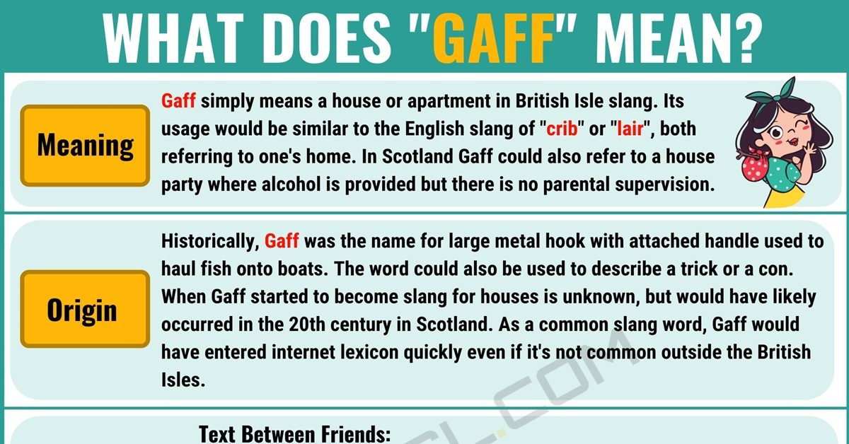 Gaff Meaning: What Does Gaff Mean? with Useful Conversations 1
