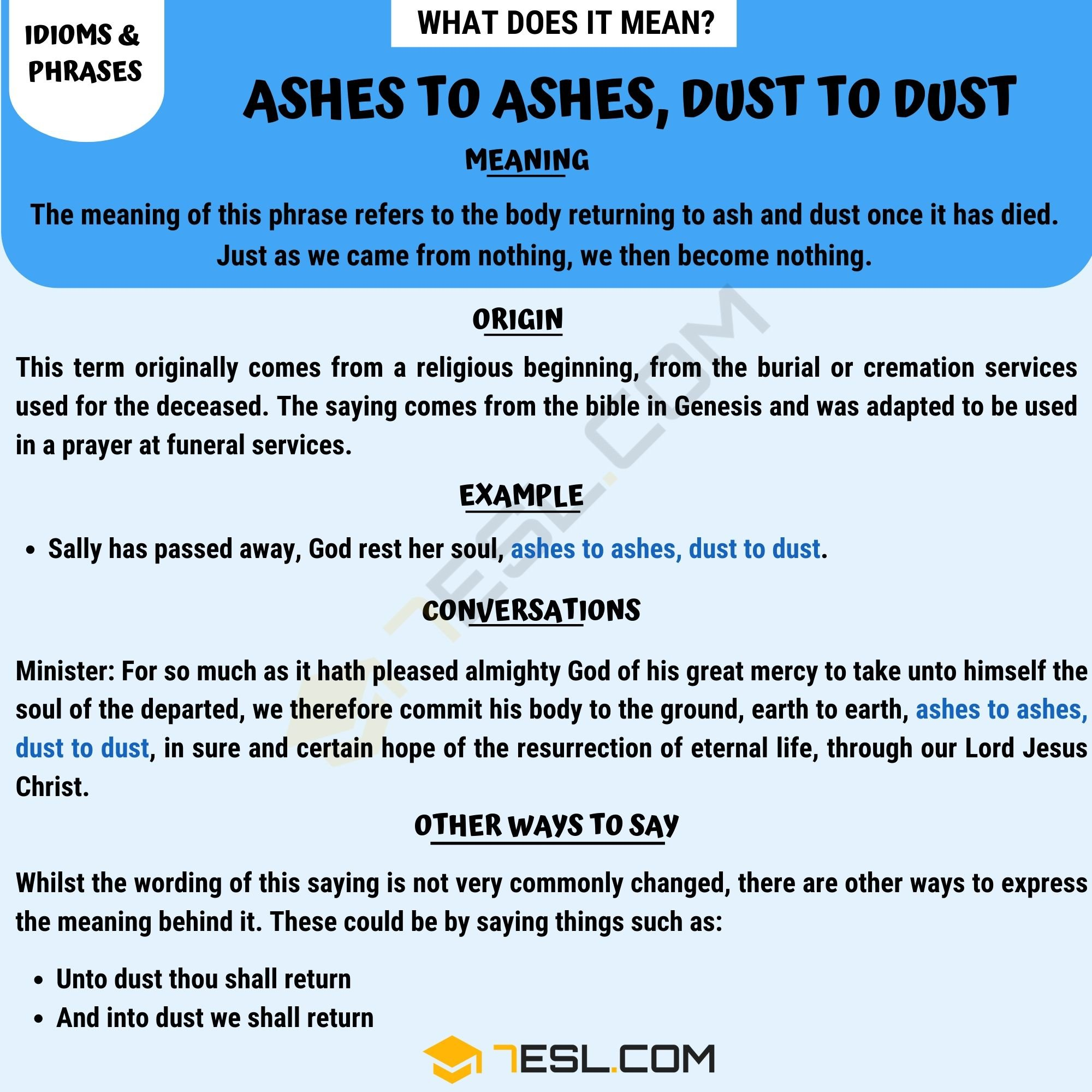 Ashes to Ashes, Dust to Dust