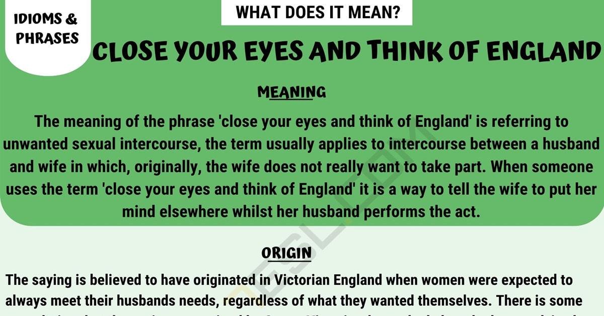Close Your Eyes and Think of England