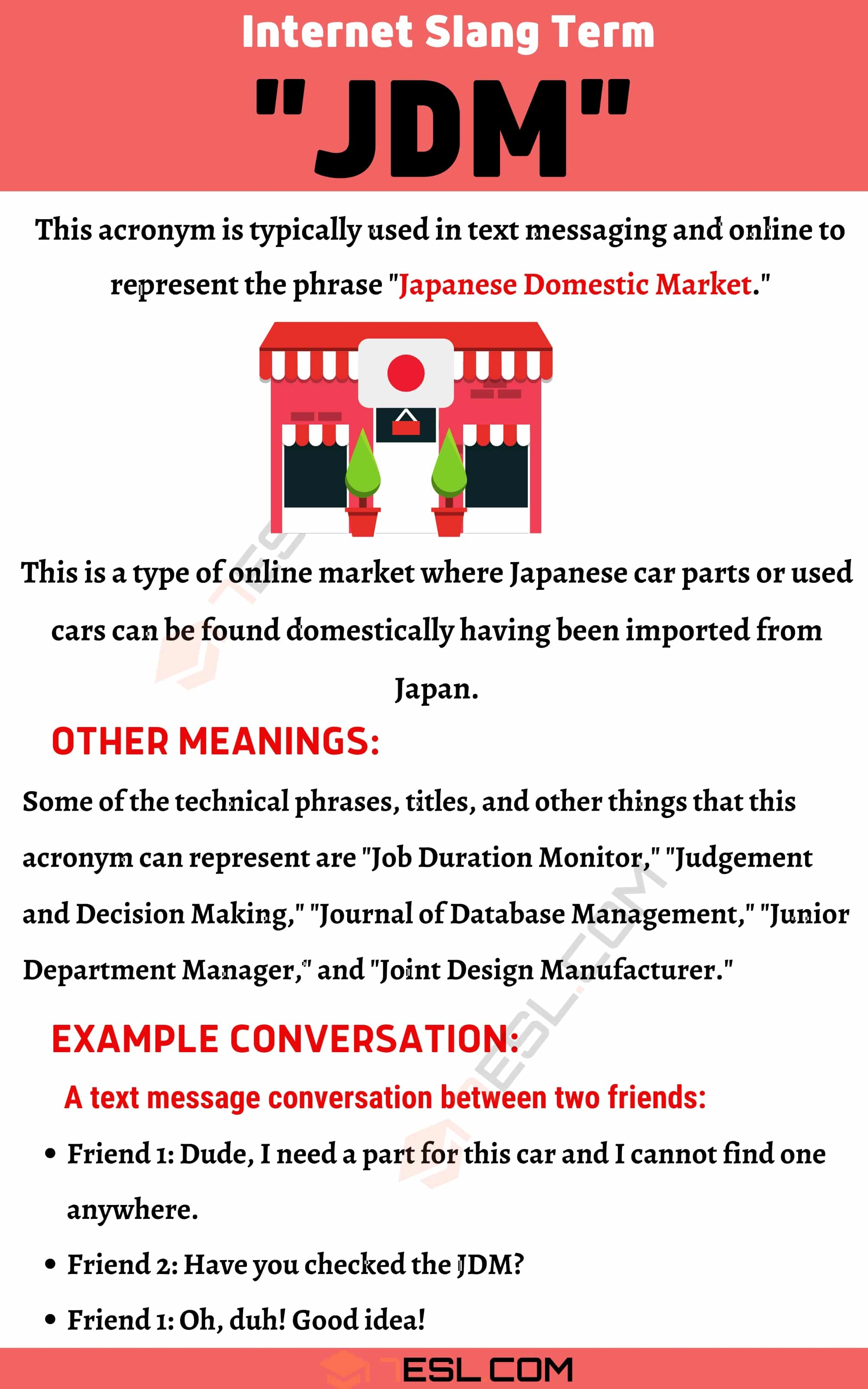 """JDM Meaning: Examples and Definition of the Acronym """"JDM"""""""