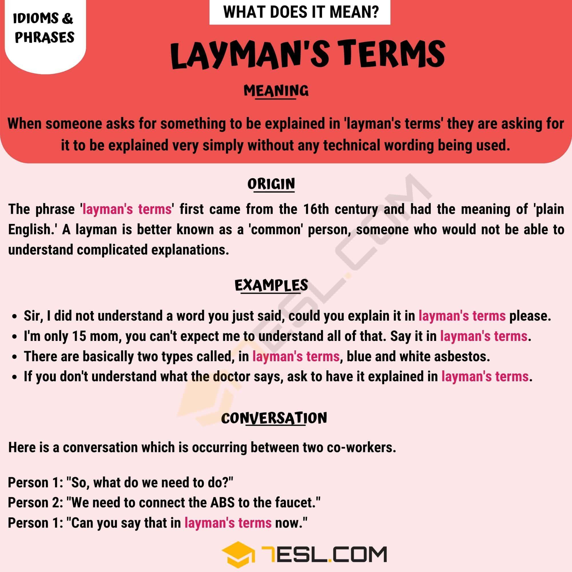 Layman's Terms