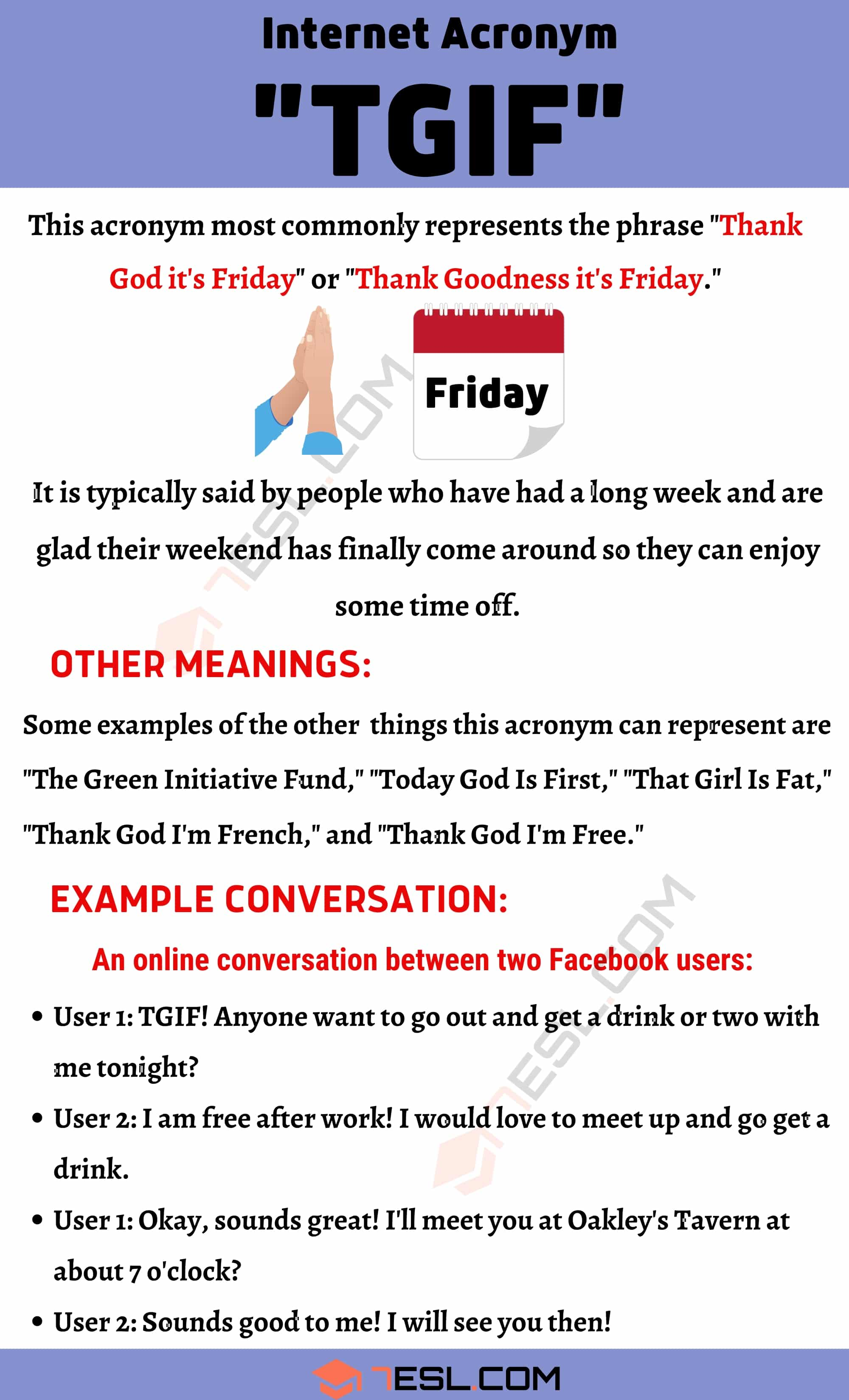 "TGIF Meaning: What is The Meaning of The Trendy Acronym ""TGIF""?"