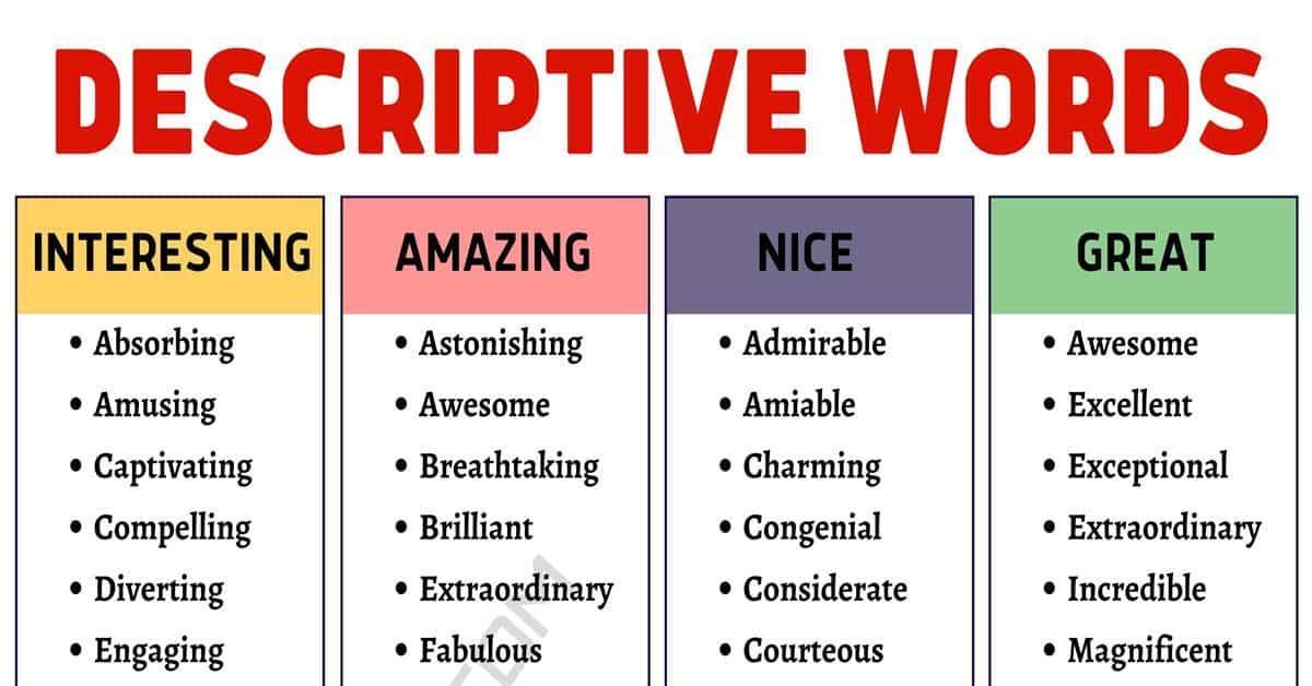 Descriptive Words: 700+ Describing Words with Useful Examples 1