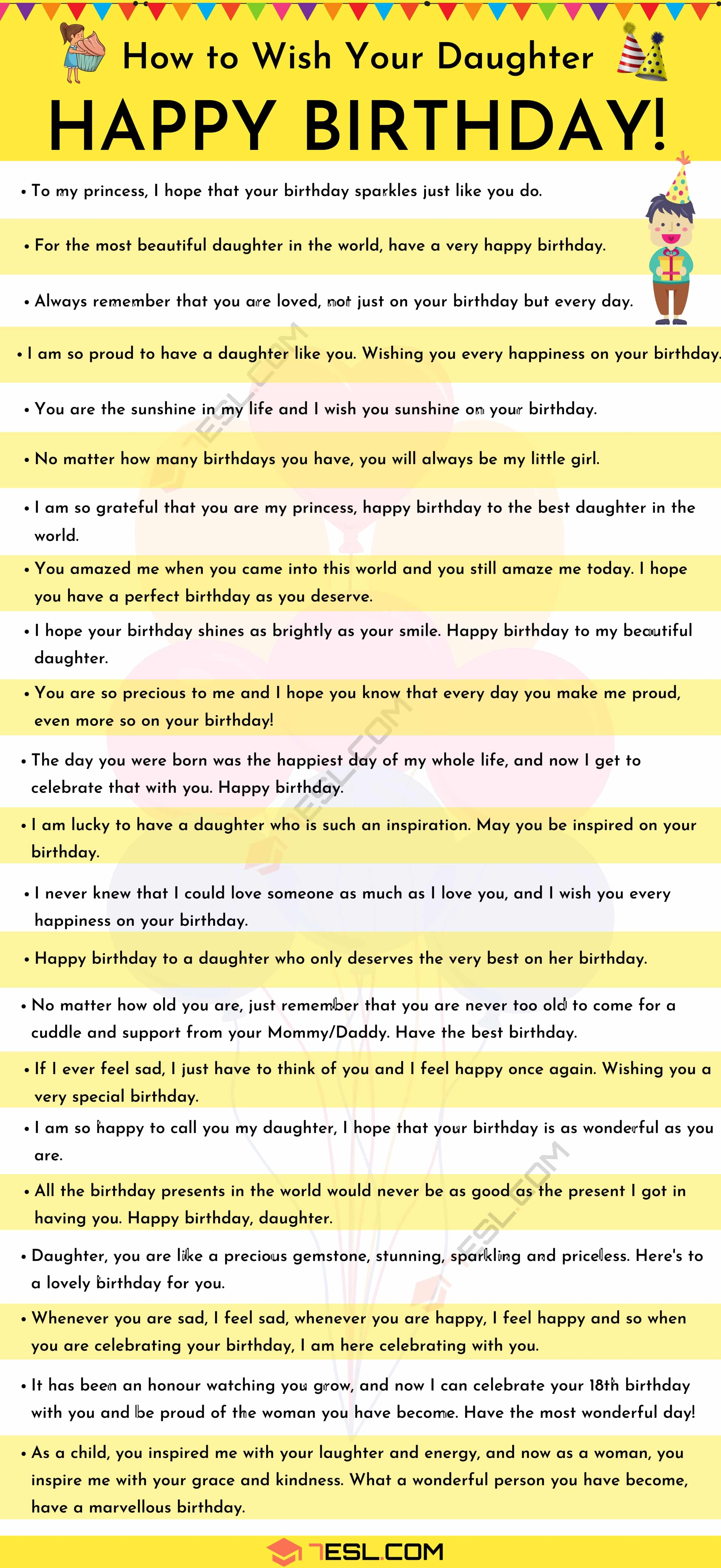 List of birthday wishes for your daughter