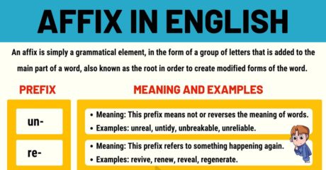 Affixes: Prefixes and Suffixes in the English Language