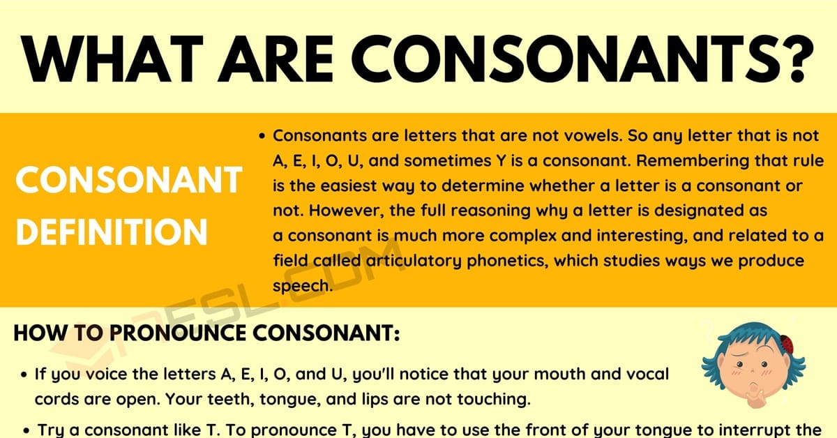 Consonant: Definition and Examples of Consonants in English 1