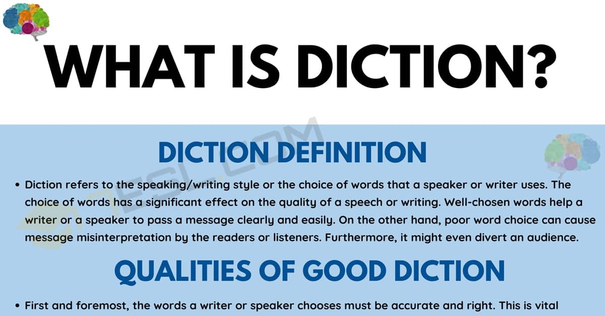 Diction: Definition, Types, and Examples of Diction in Speaking and Literature 1