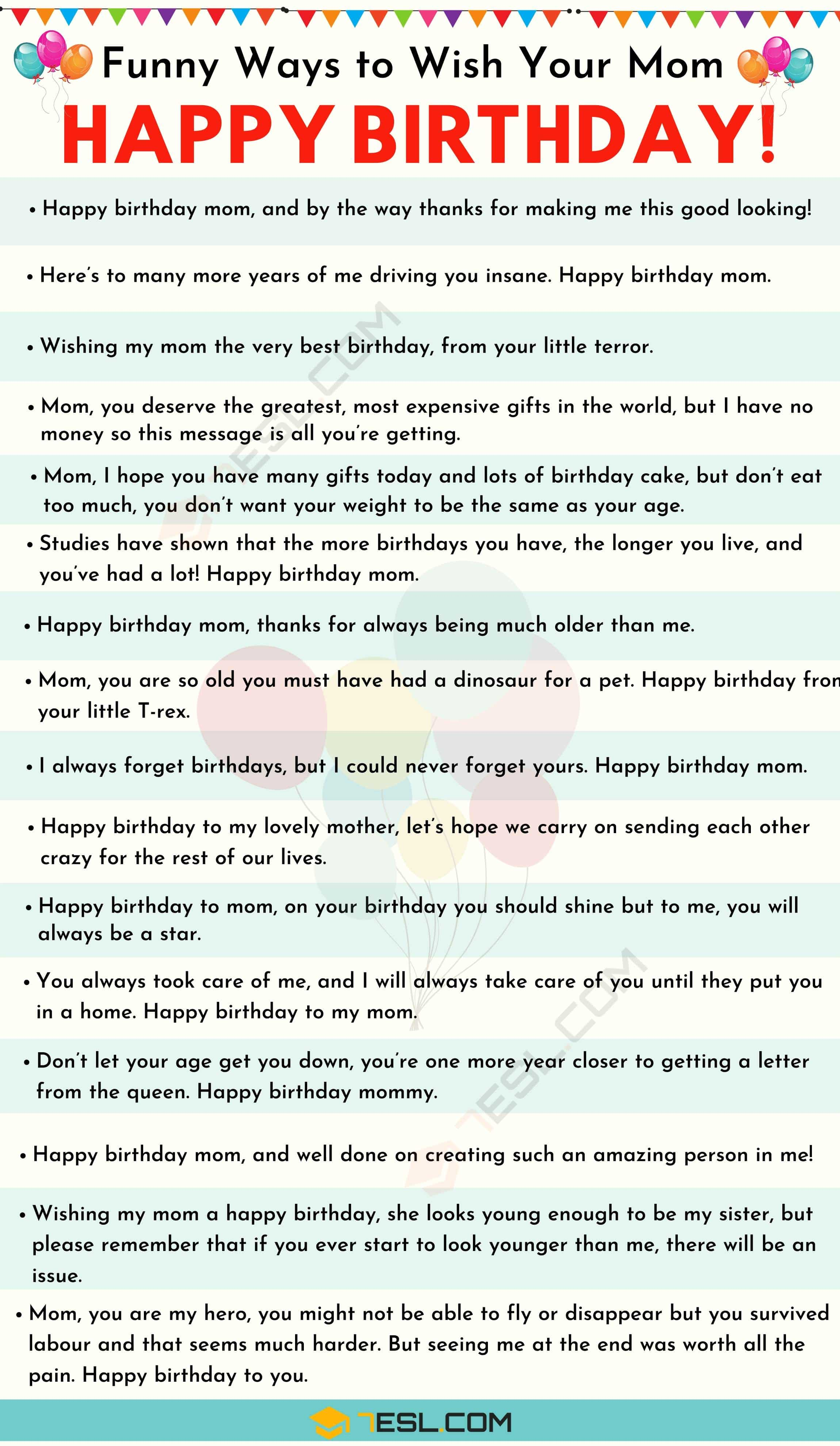 Happy birthday Mom: 35+ Sweet and Funny Birthday Wishes for Mom