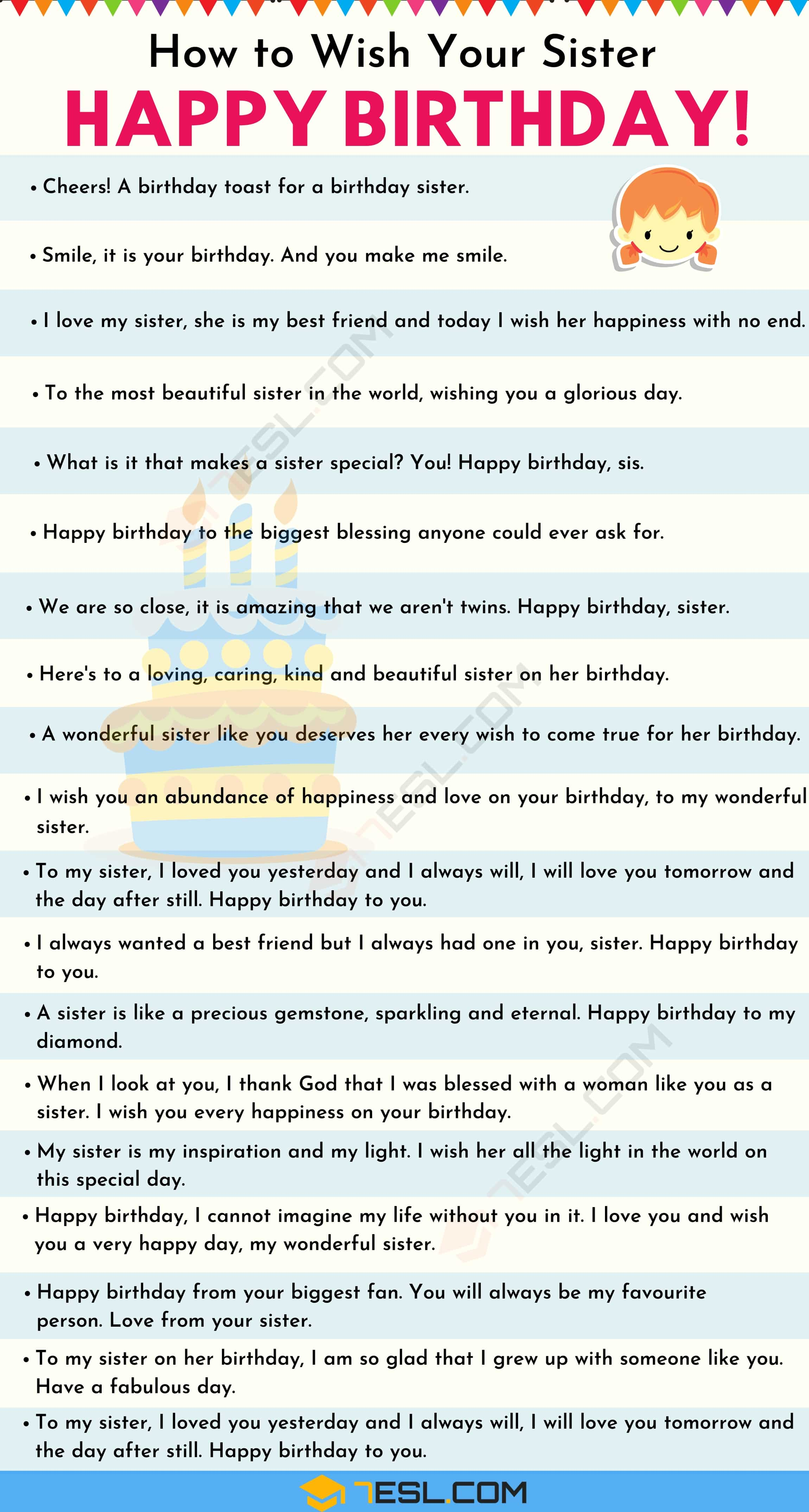List of birthday wishes for your sister