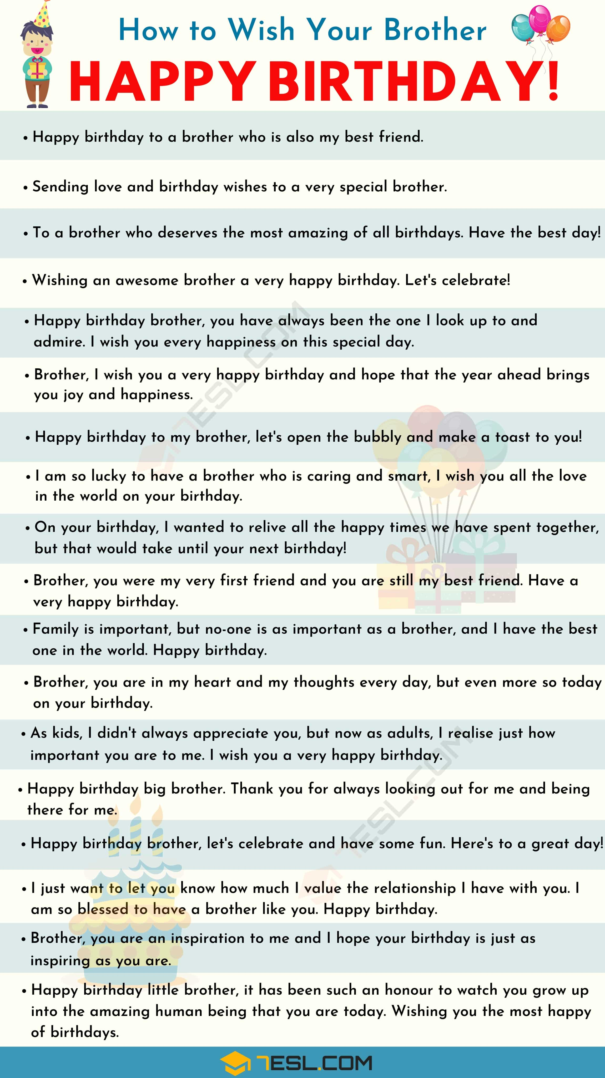 List of birthday wishes for your brother