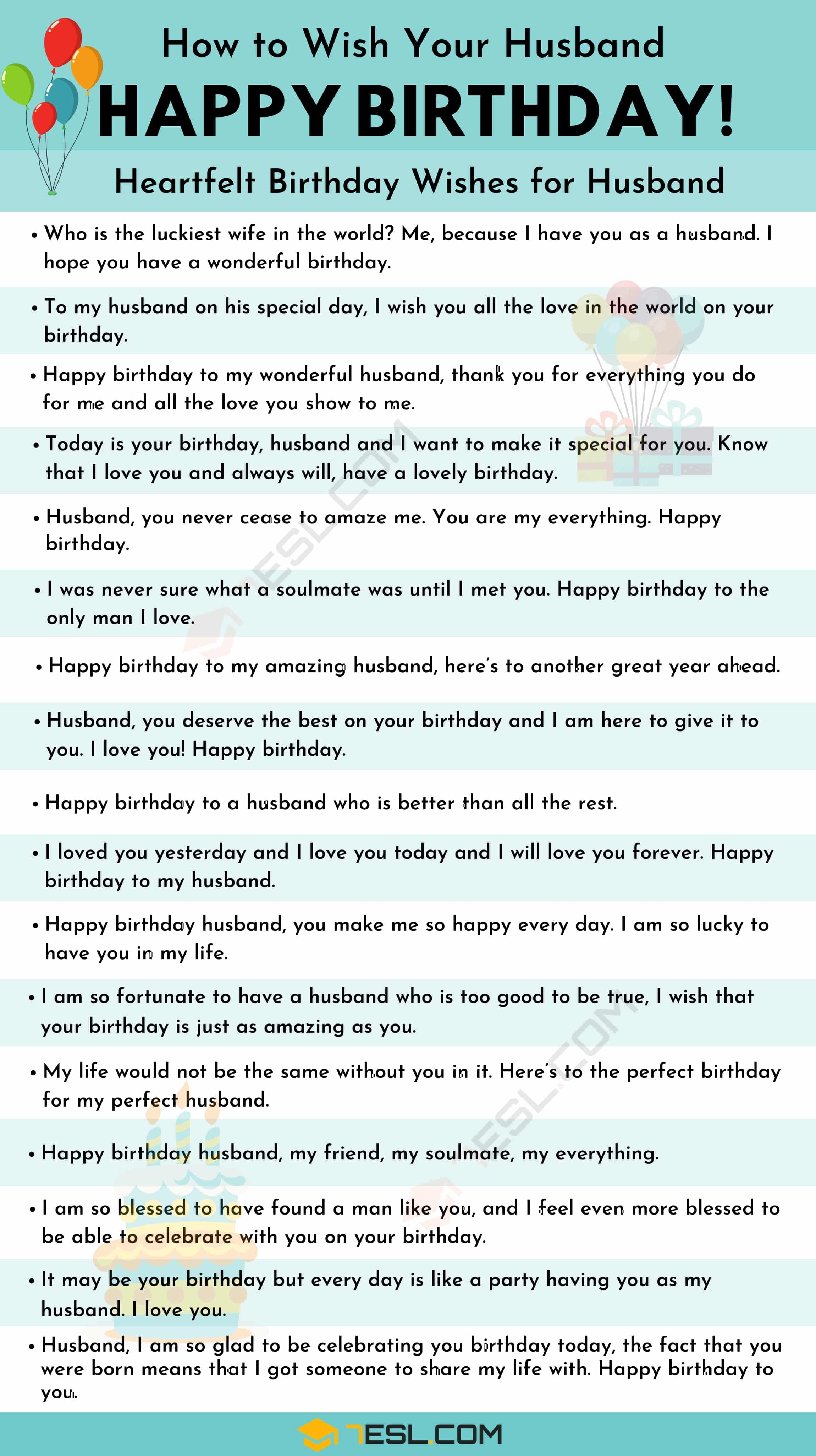 List of birthday wishes for your husband
