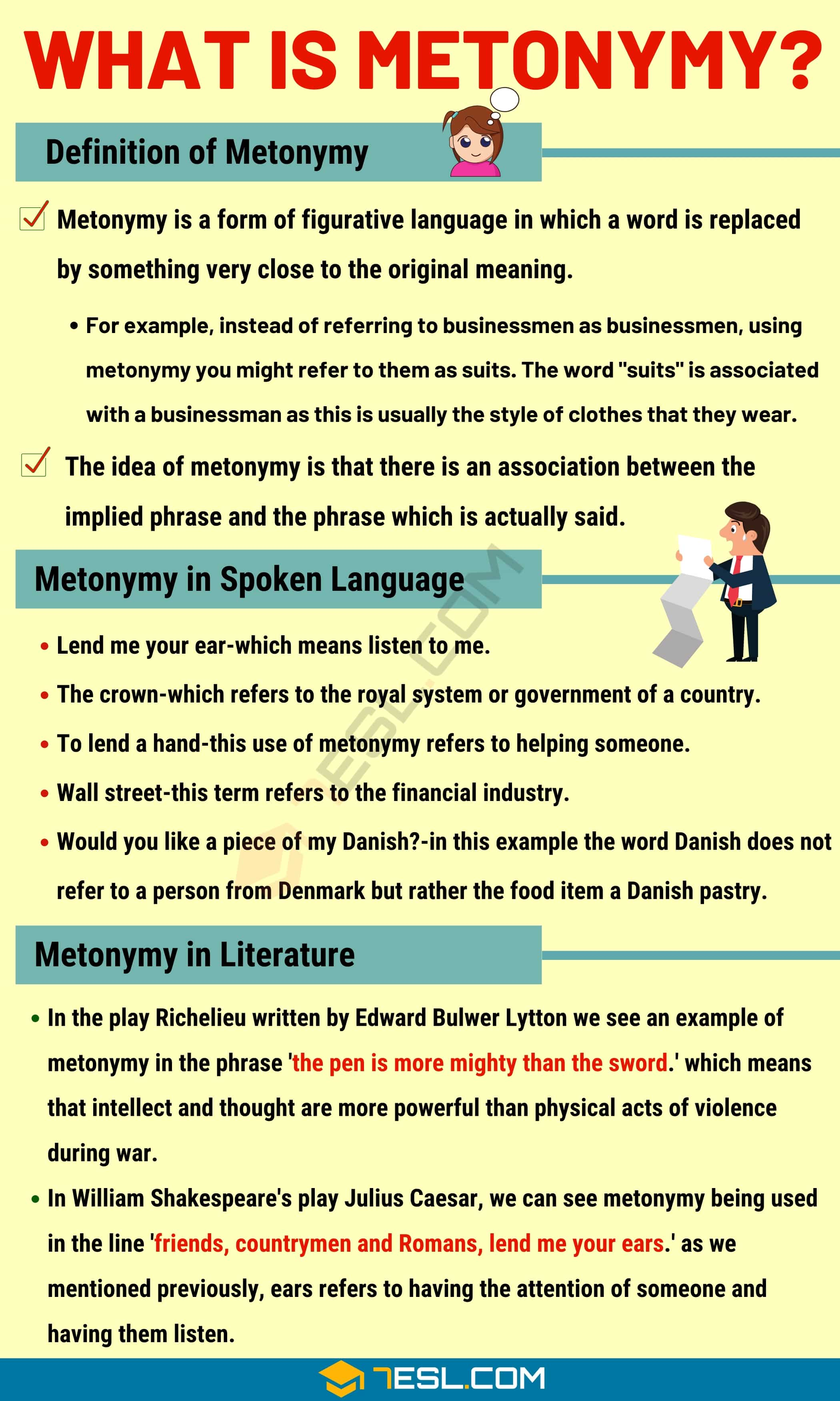 Metonymy: Definition with Useful Examples in Spoken Language & Literature