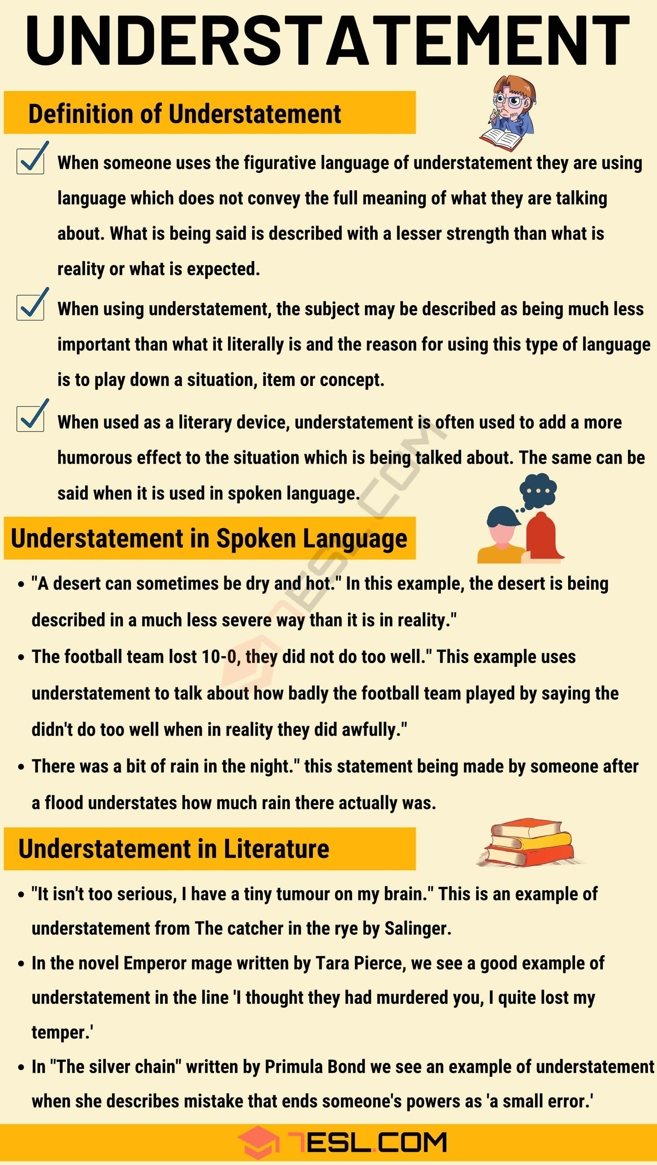 Understatement: Definition and Useful Examples in Spoken Language & Literature