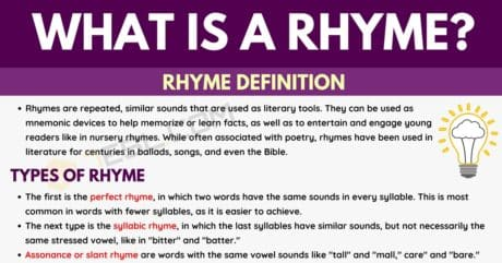 Rhymes: Definition, Types and Useful List of Rhyming Words