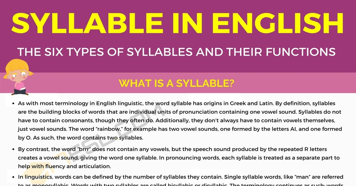 Syllable: The Six Types of Syllables and Their Functions 1