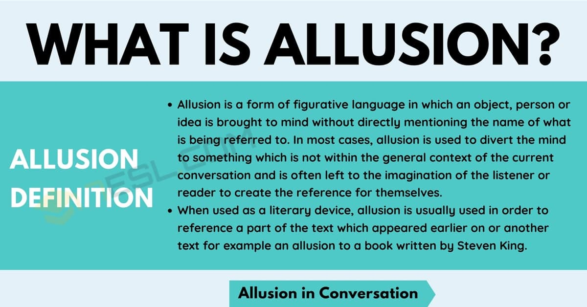 Allusion: Definition and Examples of Allusion in Conversation & Literature 1