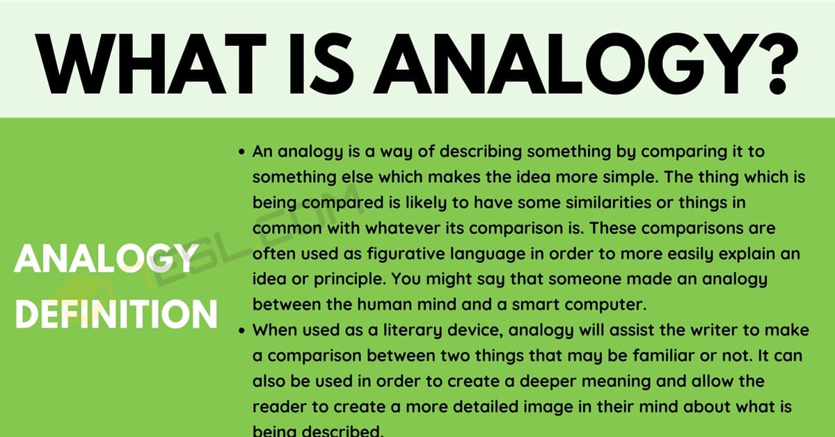 Analogy: Definition and Examples of Analogy in Conversation & Literature 1