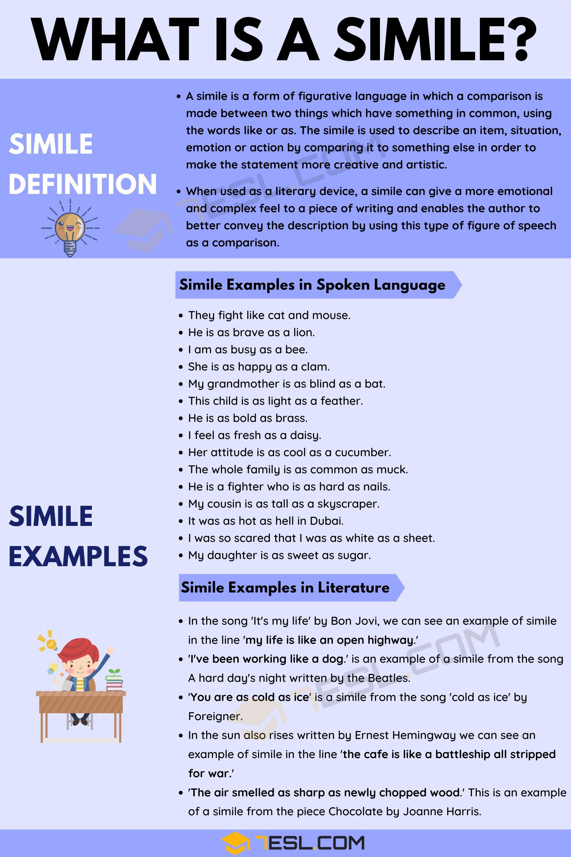 Simile Definition with Useful Examples in Spoken Language and Literature