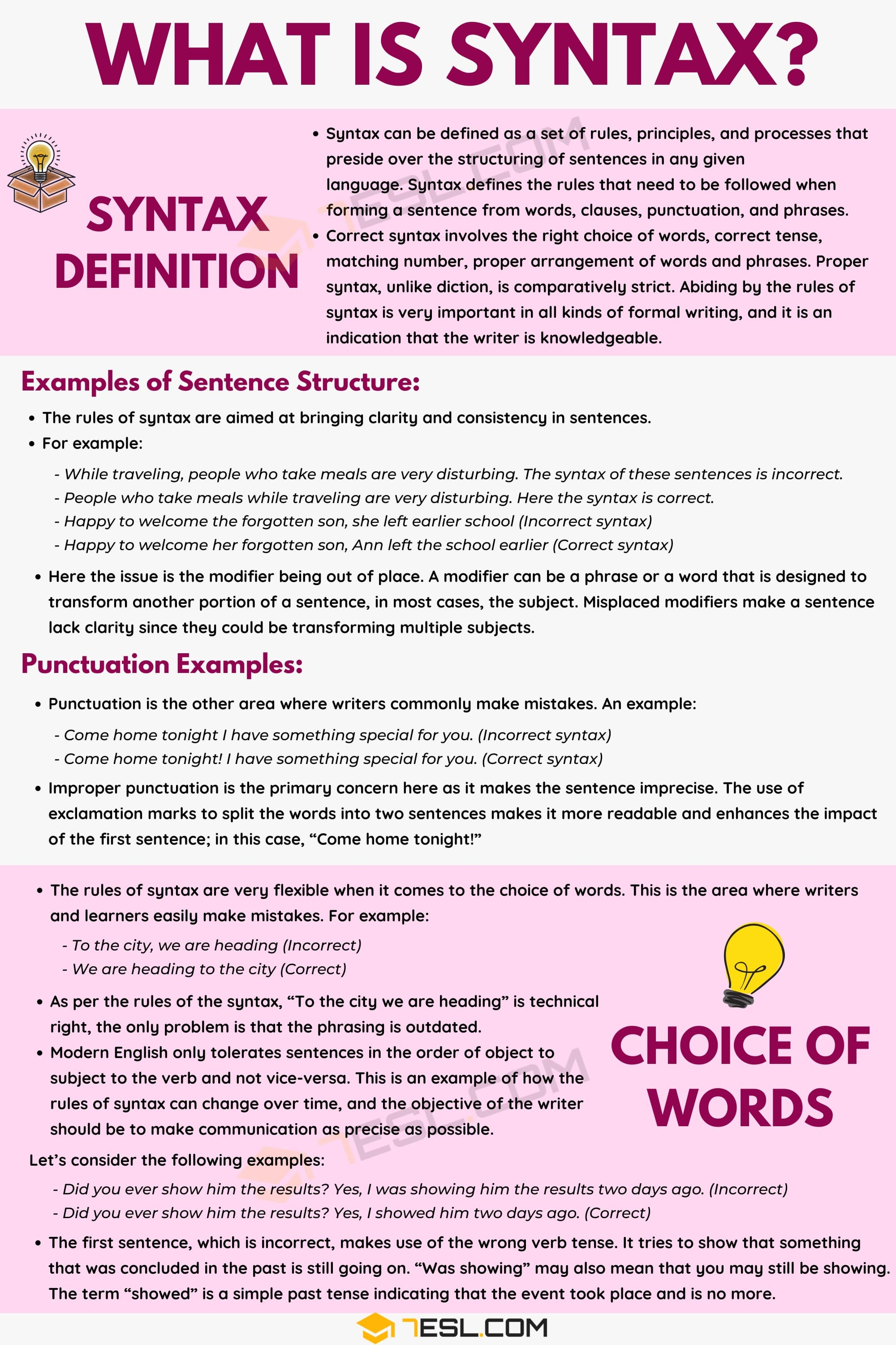 Syntax: Definition and Examples of Syntax in the English Language