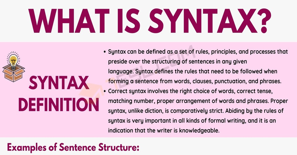 Syntax: Definition and Examples of Syntax in the English Language 1