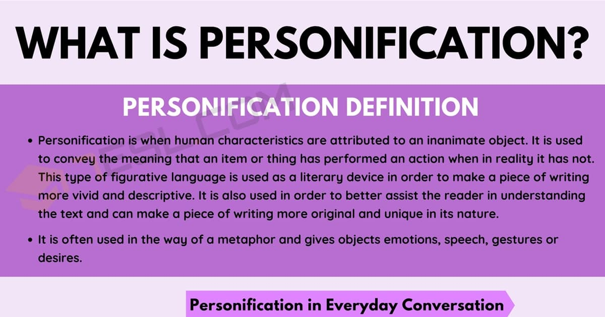 Personification: Definition and Examples of Personification in Speech & Literature 1